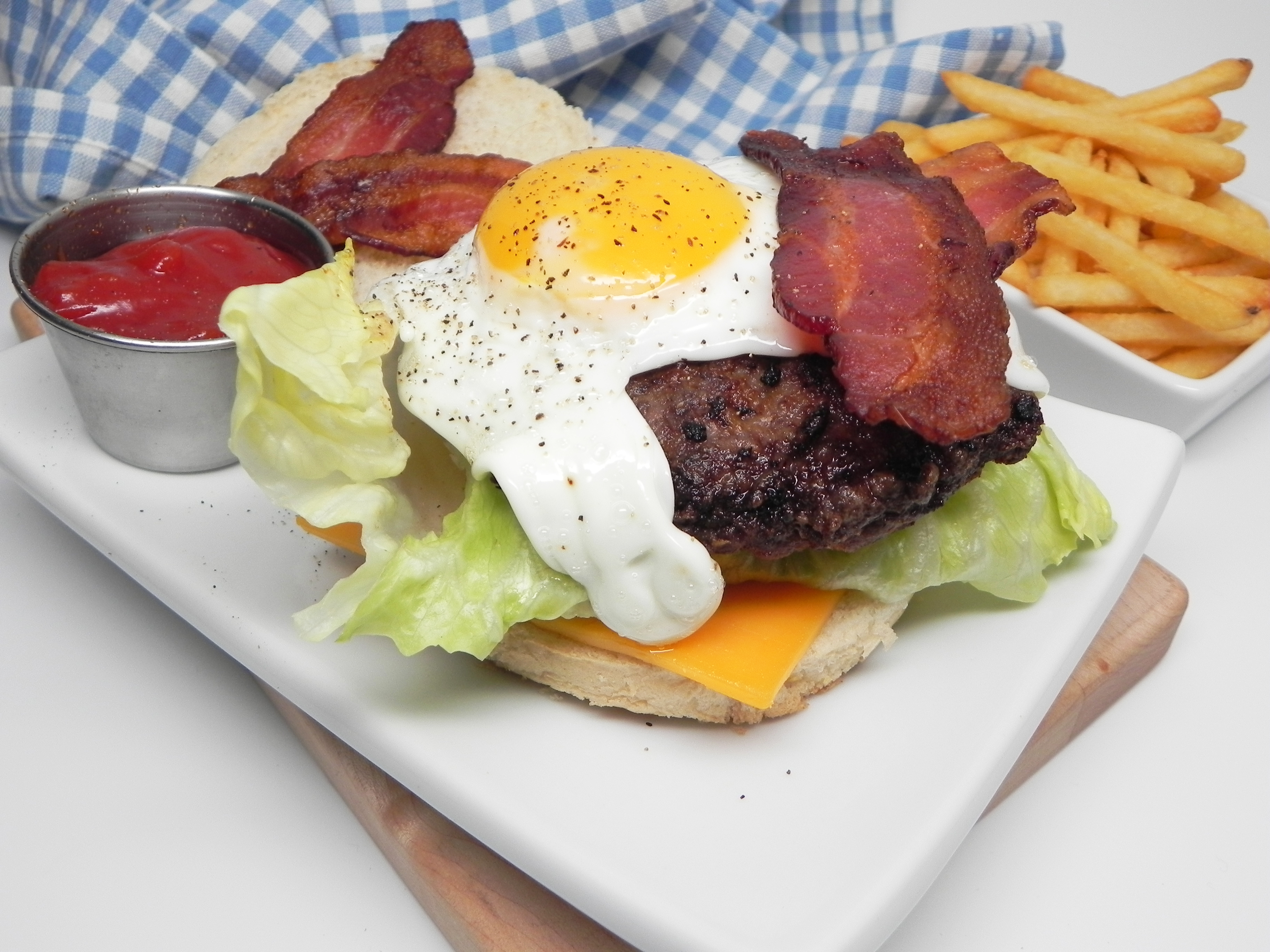 Flat Top Grilled Burgers with Fried Eggs