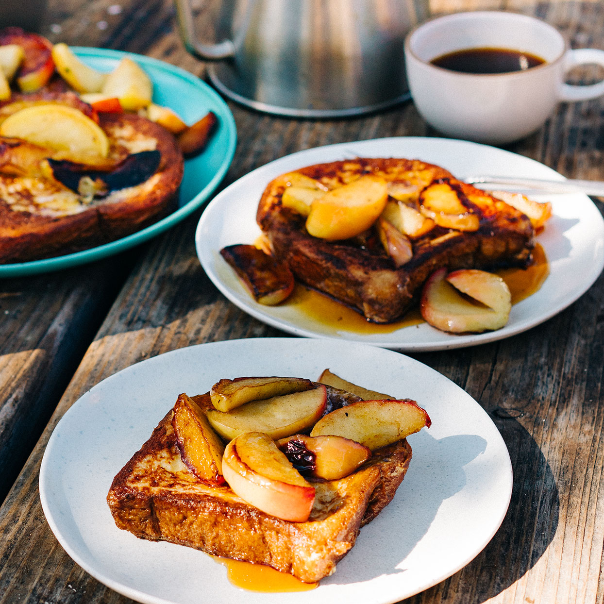 This brioche French toast recipe calls for cooking the bread and the apples over high heat in coconut oil--a fat with a high smoke point that adds its own delicious flavor--for a nicely caramelized crust. This recipe was developed as a deluxe breakfast for a camping trip, but you can also cook it at home on the stovetop. Source: EatingWell Magazine, June 2020