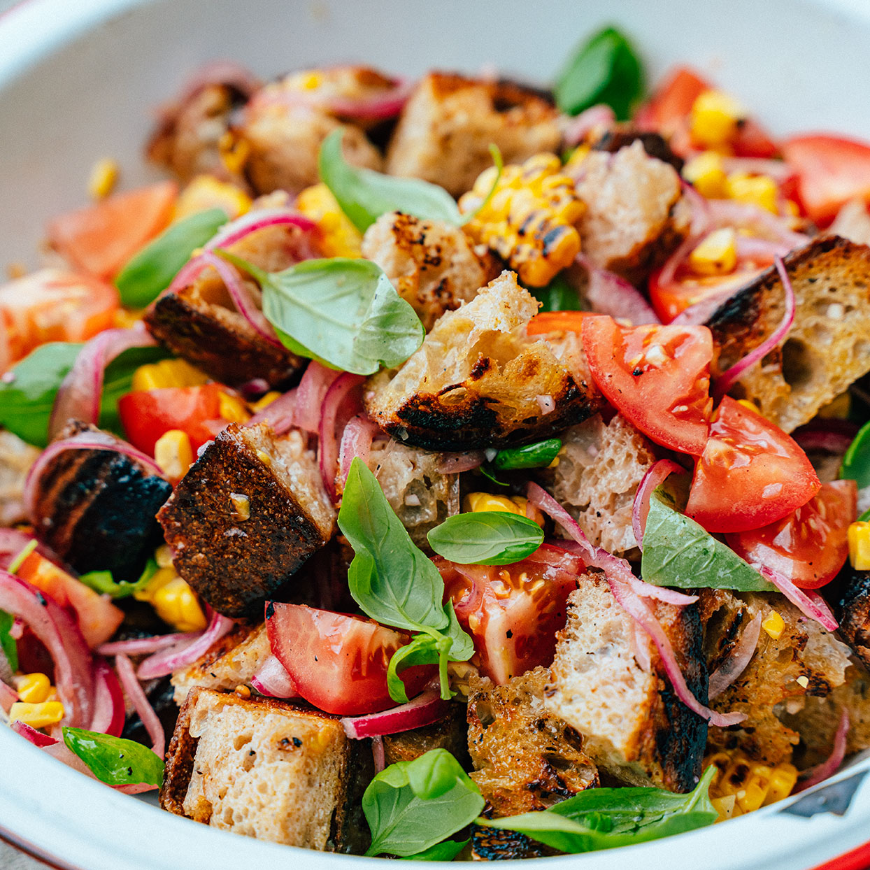 Panzanella with Tomatoes & Grilled Corn
