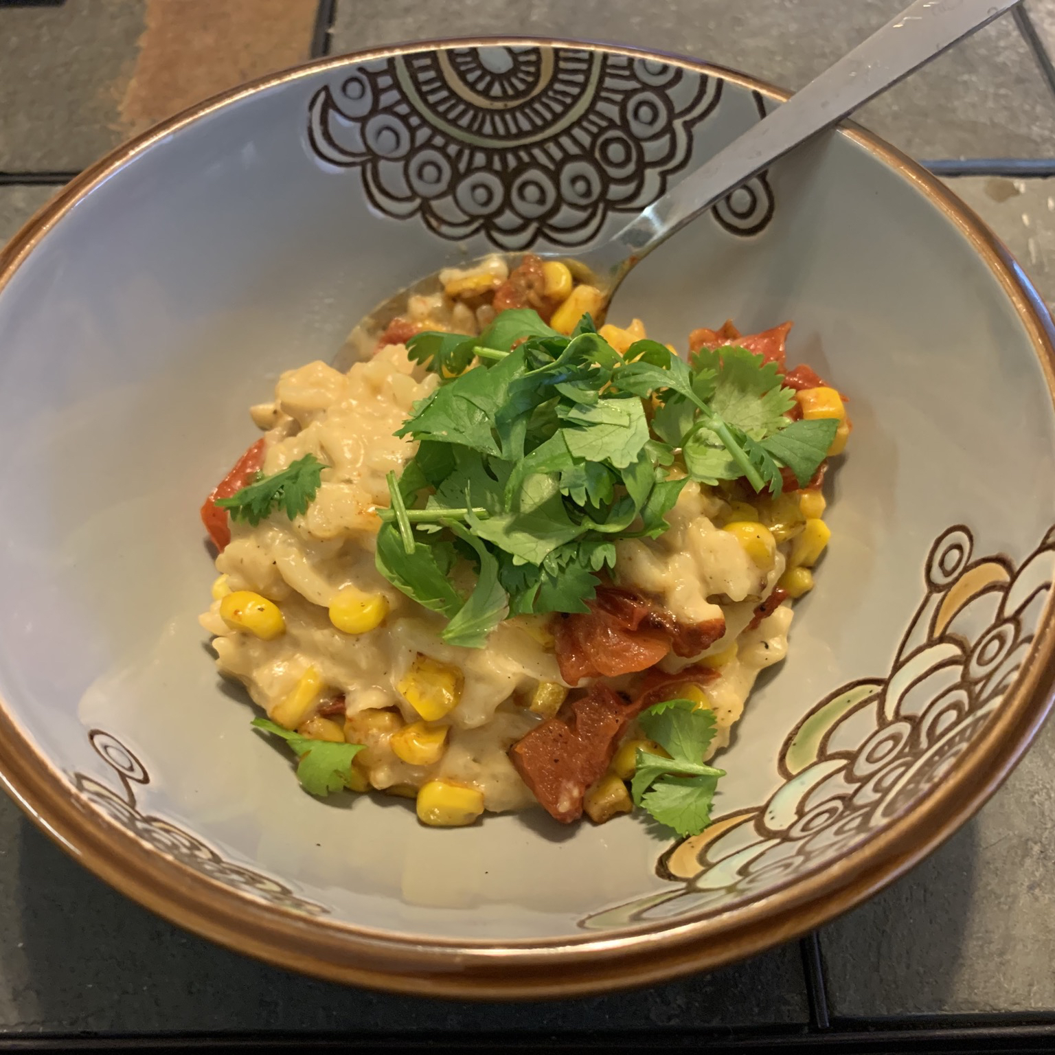 Risotto with Tomato, Corn and Basil Sonya