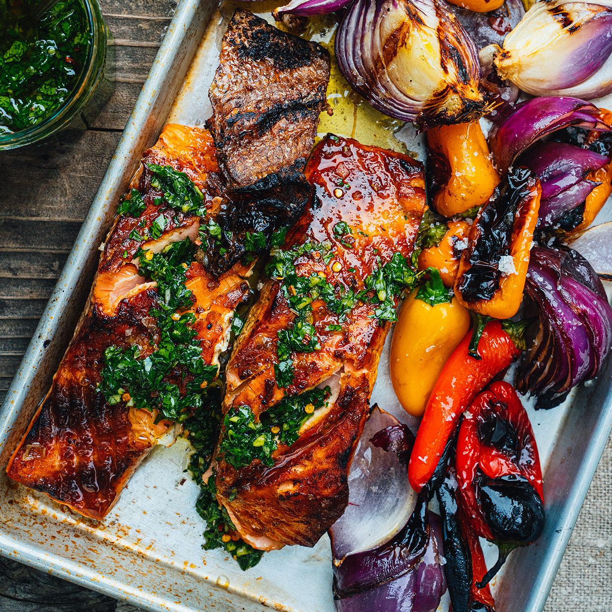 It may seem counterintuitive to start the fish skin-side up. But when you flip it, the fish skin captures the juices as it finishes cooking for extra-flavorful results. Serve with chimichurri sauce (see Associated Recipe). Source: EatingWell Magazine, June 2020