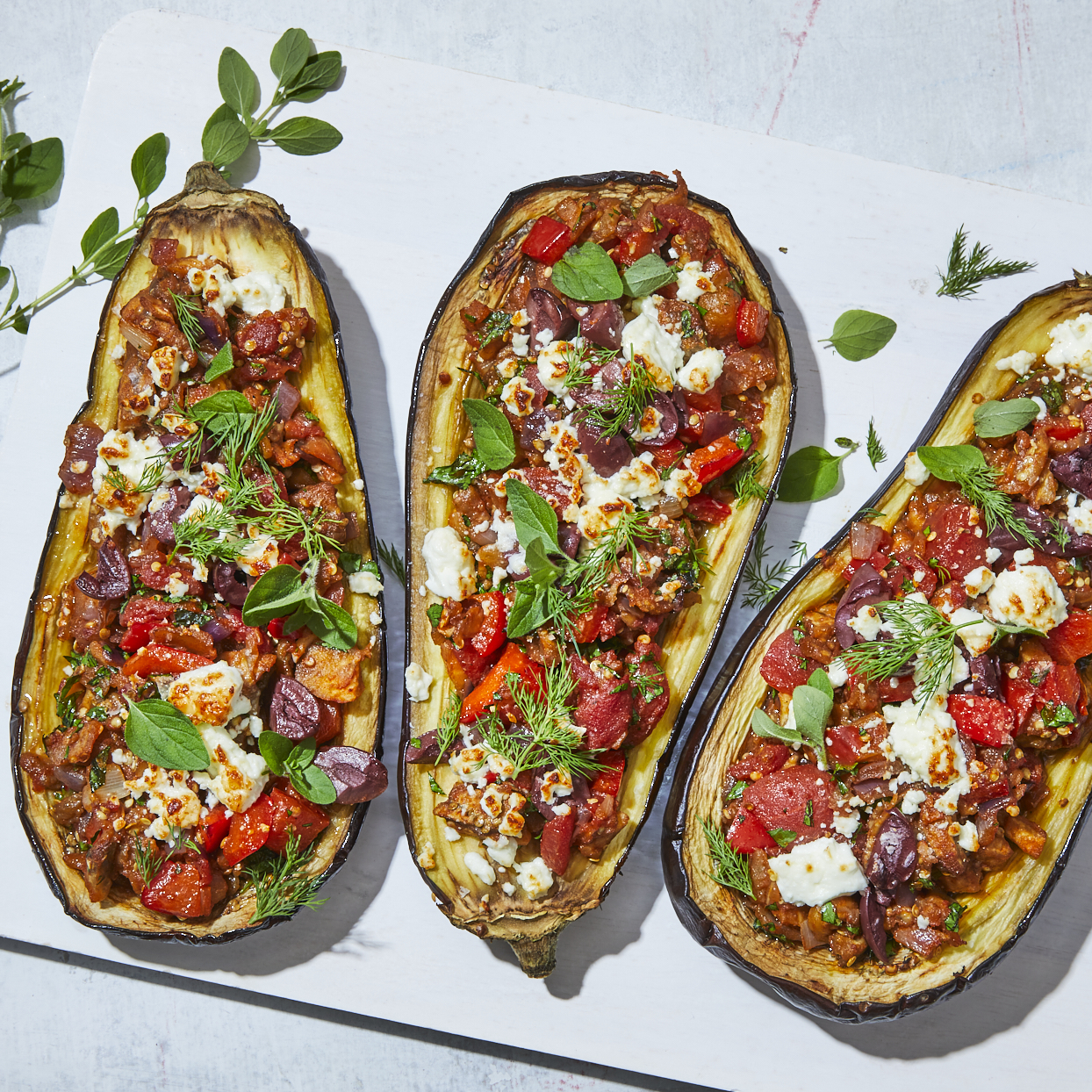 This Greek-inspired stuffed eggplant is filled with veggies and flavors of the Mediterranean. The dish is easy to pull together and the addition of cumin gives it a sweet, earthy note. Source: EatingWell.com, May 2020
