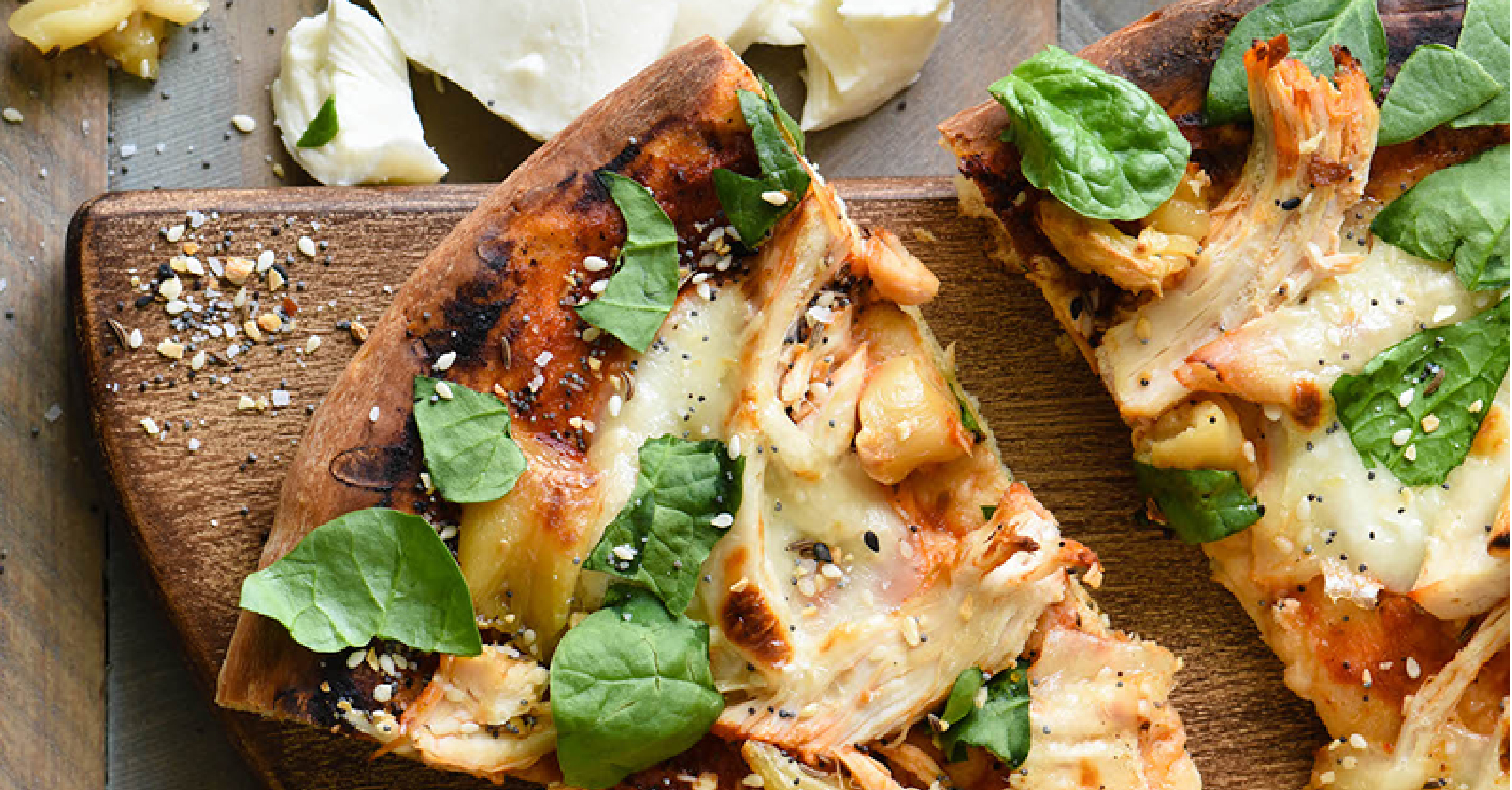 Grilled Chicken Pizza with Mozzarella and Roasted Garlic Stella Cheese