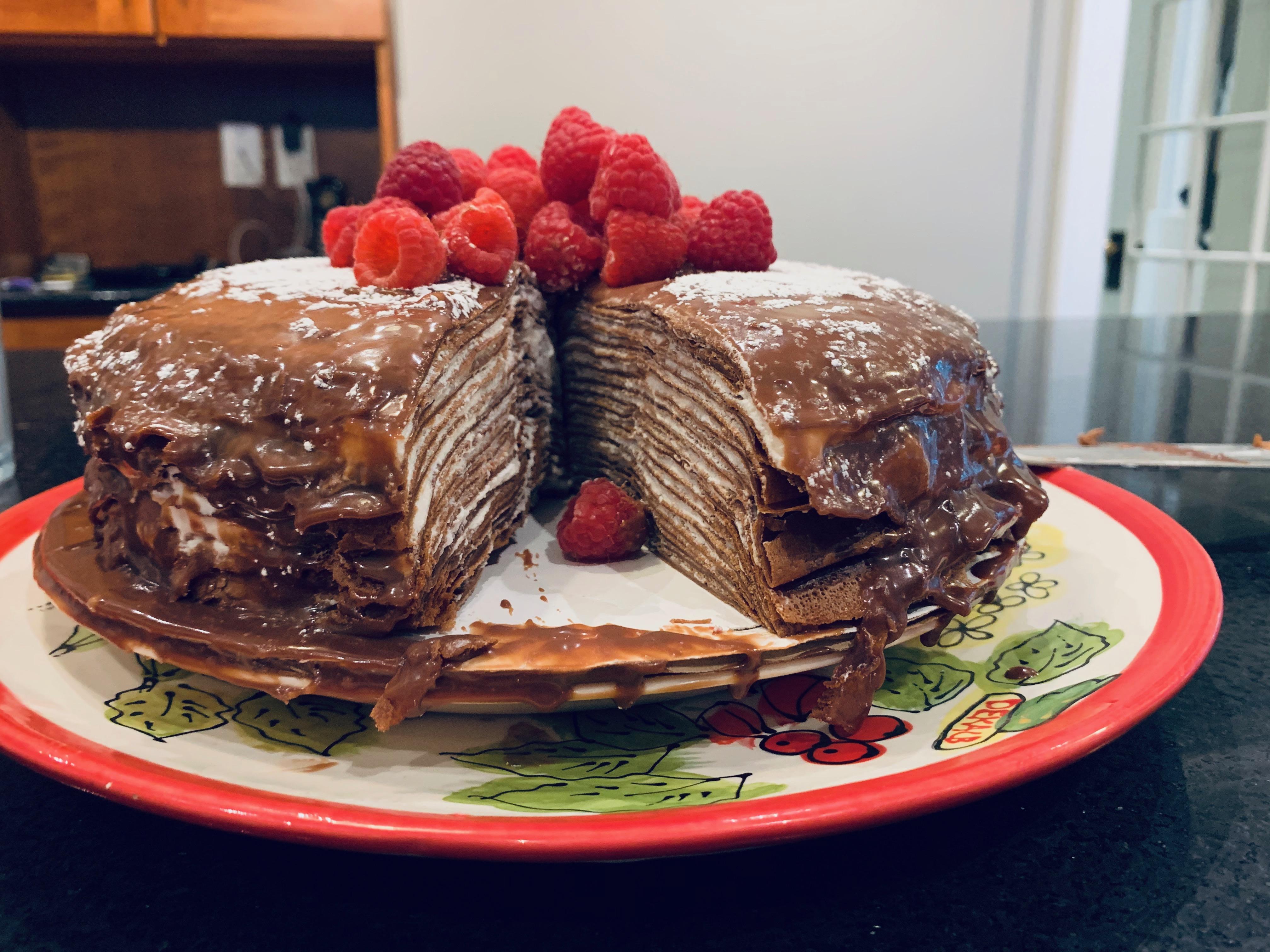 Chocolate Crepe Cake with Salted Chocolate Orange Sauce Bakingbaking