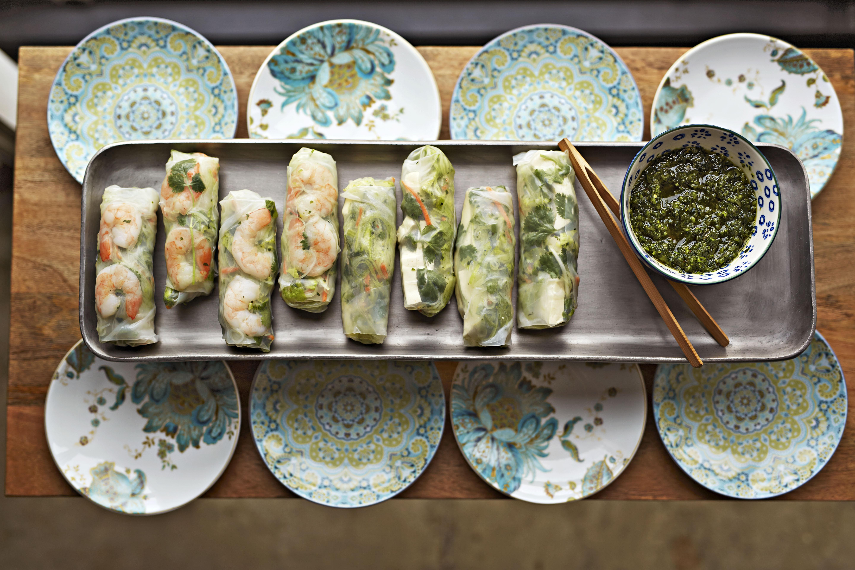 Shrimp Spring Rolls with Chimichurri Sauce