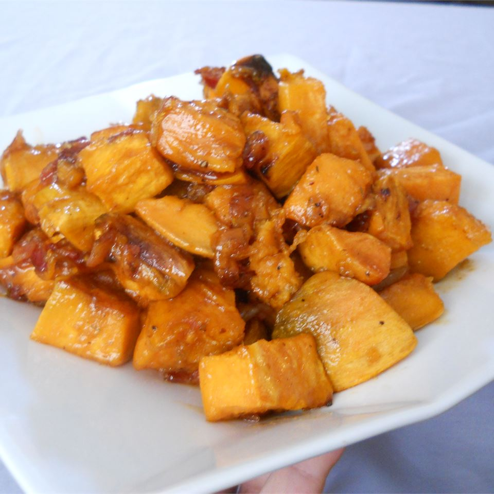 Maple Glazed Sweet Potatoes with Bacon and Caramelized Onions image