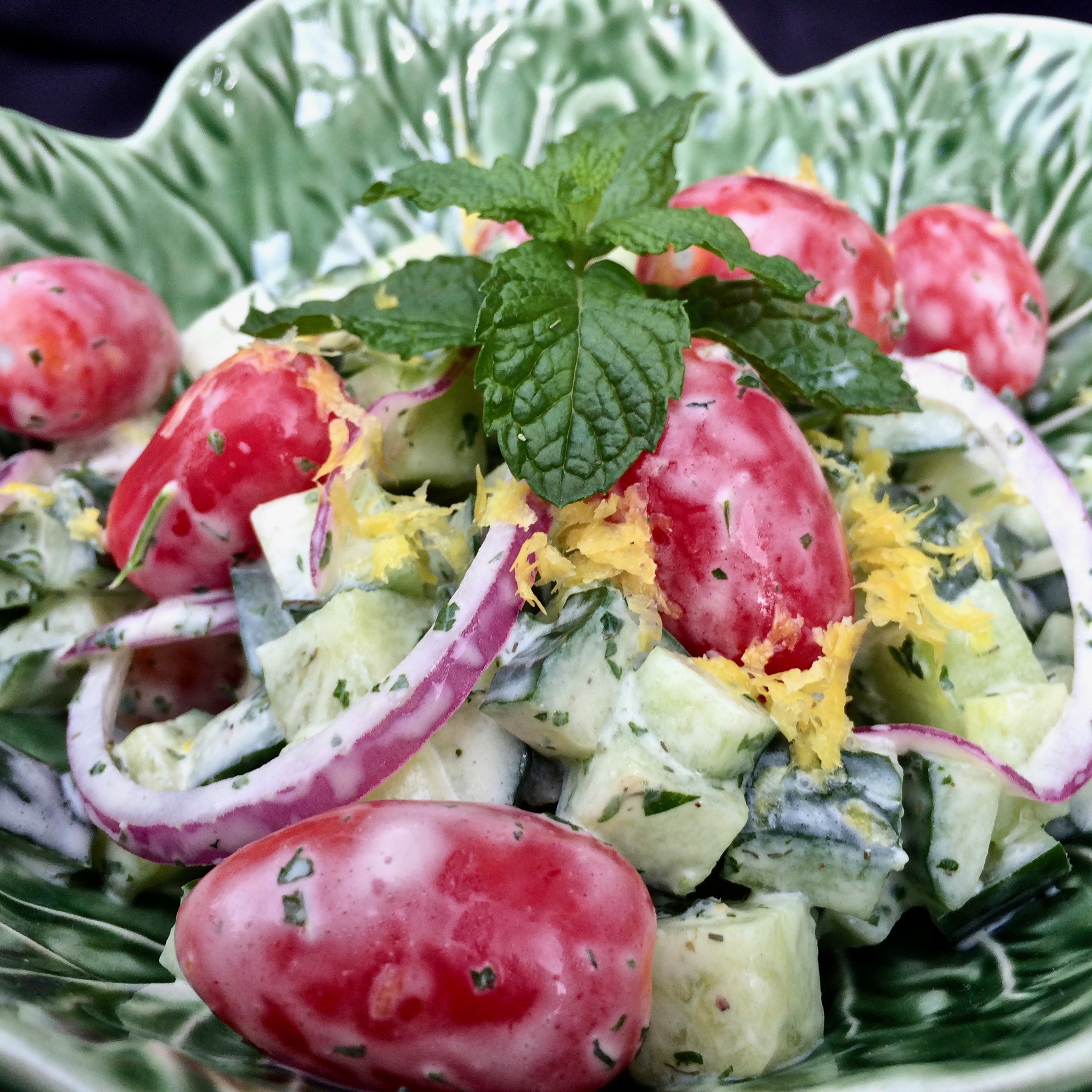 """""""Lively and refreshing, this cucumber salad has beautiful, fresh herbs and lots of crunch,"""" says Bibi. """"Try it this summer when your garden is bursting with cucumbers, and your lettuce has said goodbye. You can toss it with some romaine, if you have some, or just simply enjoy the simplicity."""""""
