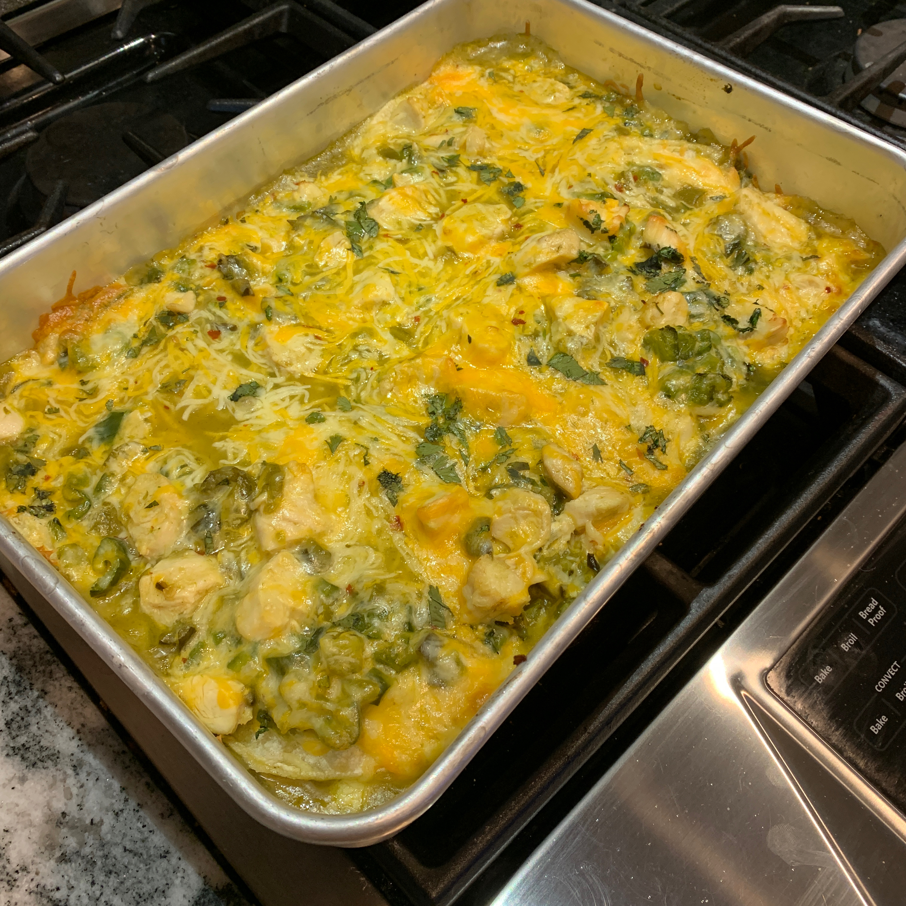 Cheesy Green Chile Chicken Enchilada Casserole