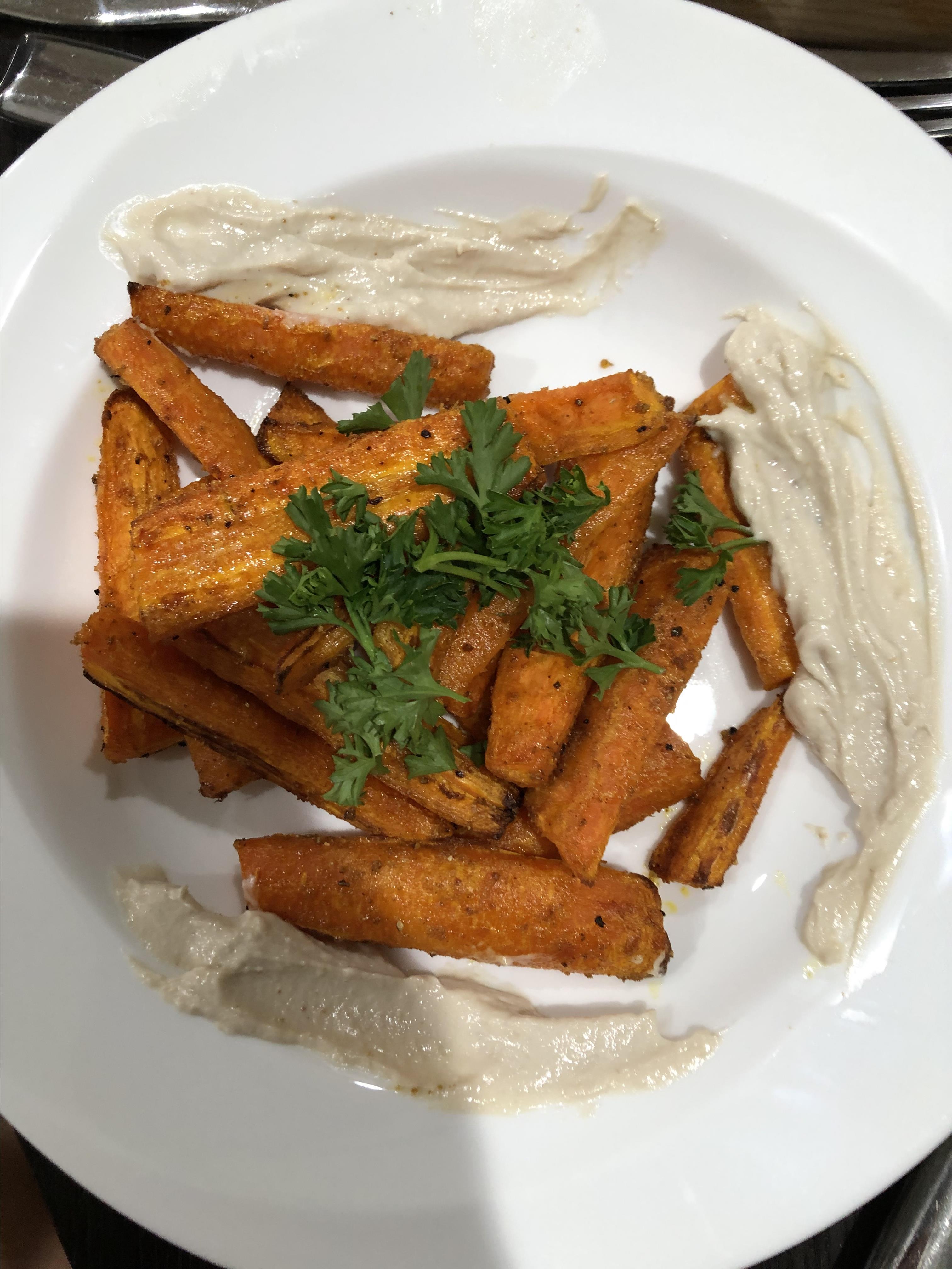 Air-Fried Carrots with Tahini-Lemon Sauce ccm