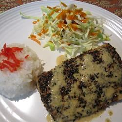 Sesame Crusted Mahi Mahi with Soy Shiso Ginger Butter Sauce rufus