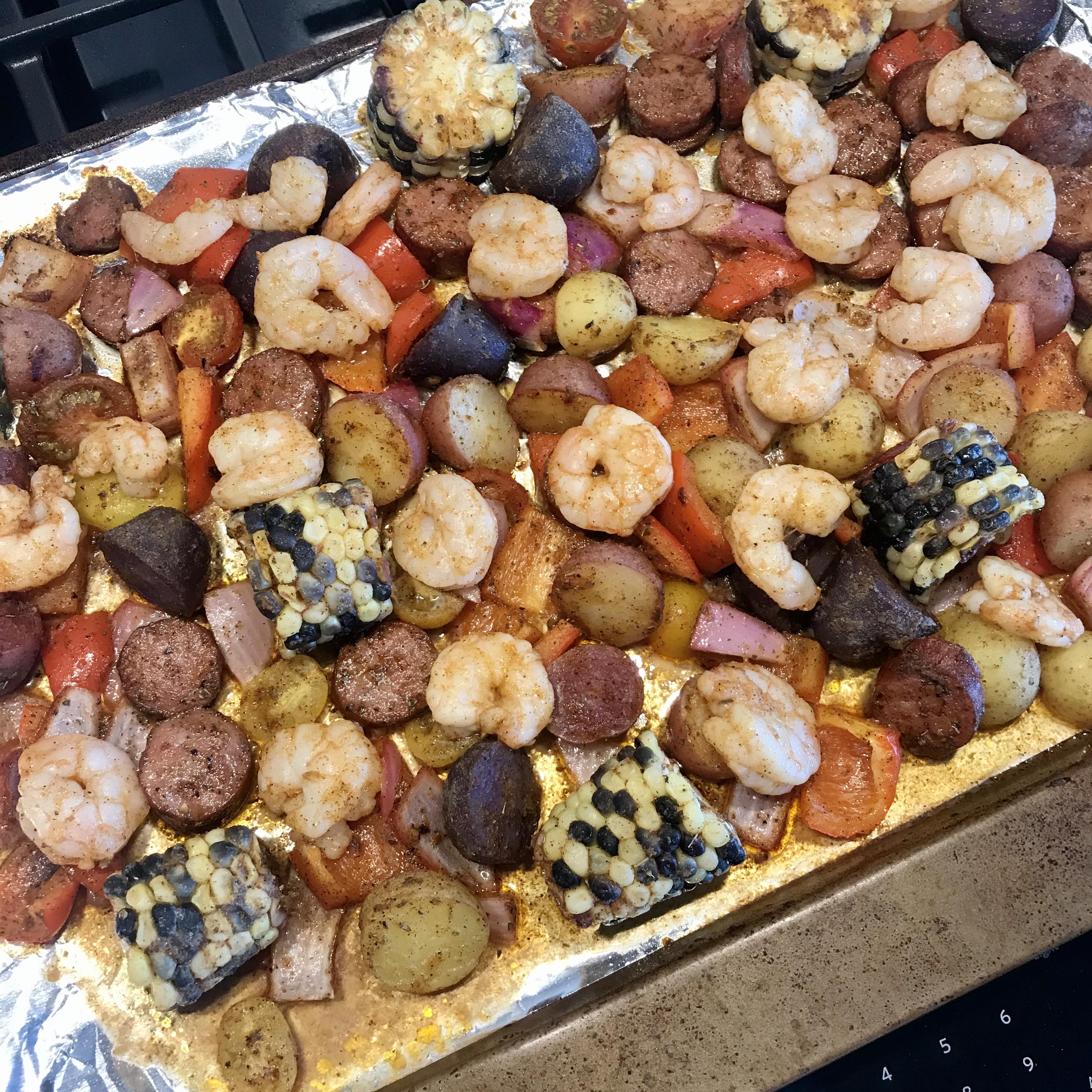 Sheet Pan Shrimp and Sausage Bake Maggie Holmes