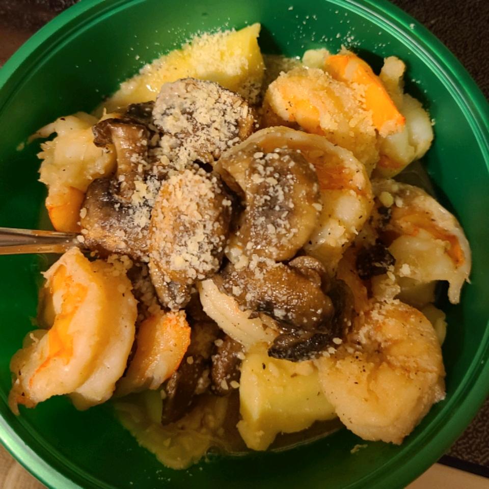 Portobello Mushroom Ravioli with Prawns