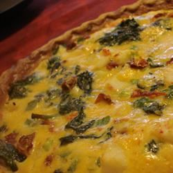 Surimi, Spinach, and Roasted Red Pepper Quiche JennyJenn