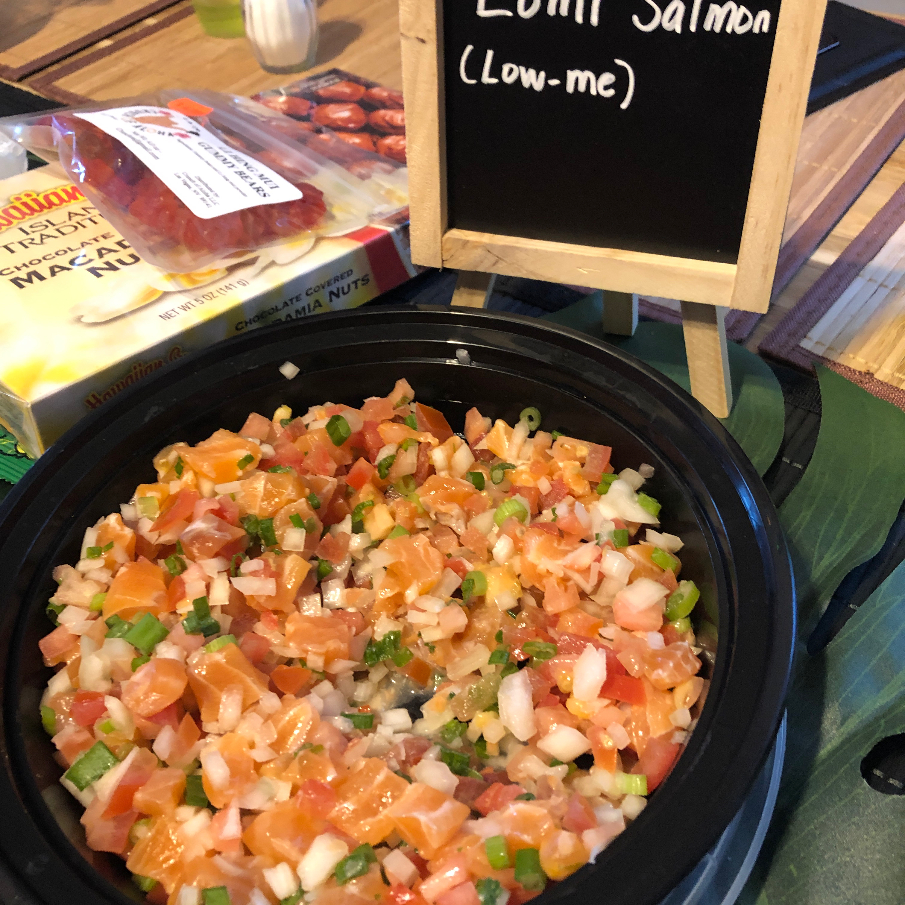 """""""It's just not a luau without the lomi!,"""" says SAXONY. """"Smoked salmon, tomato and onion make up this tantalizing Hawaiian salad."""""""