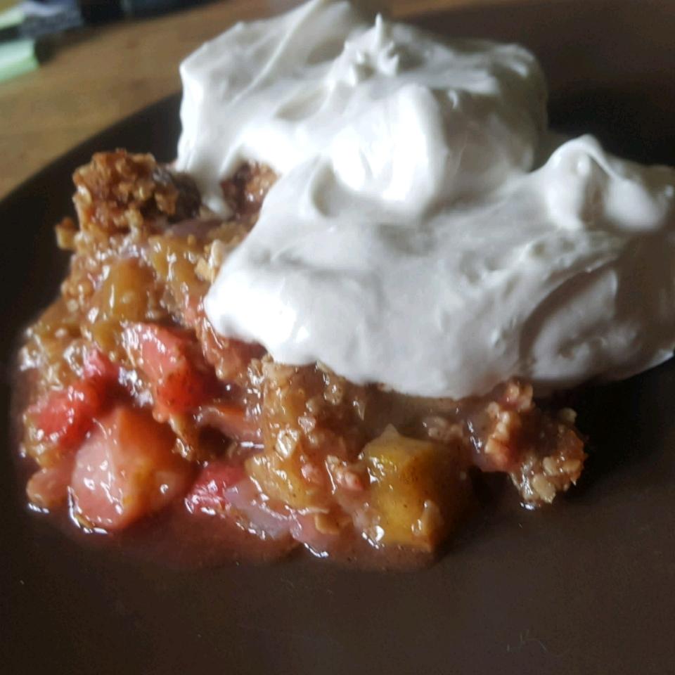 Low Sugar Strawberry Rhubarb Crunch