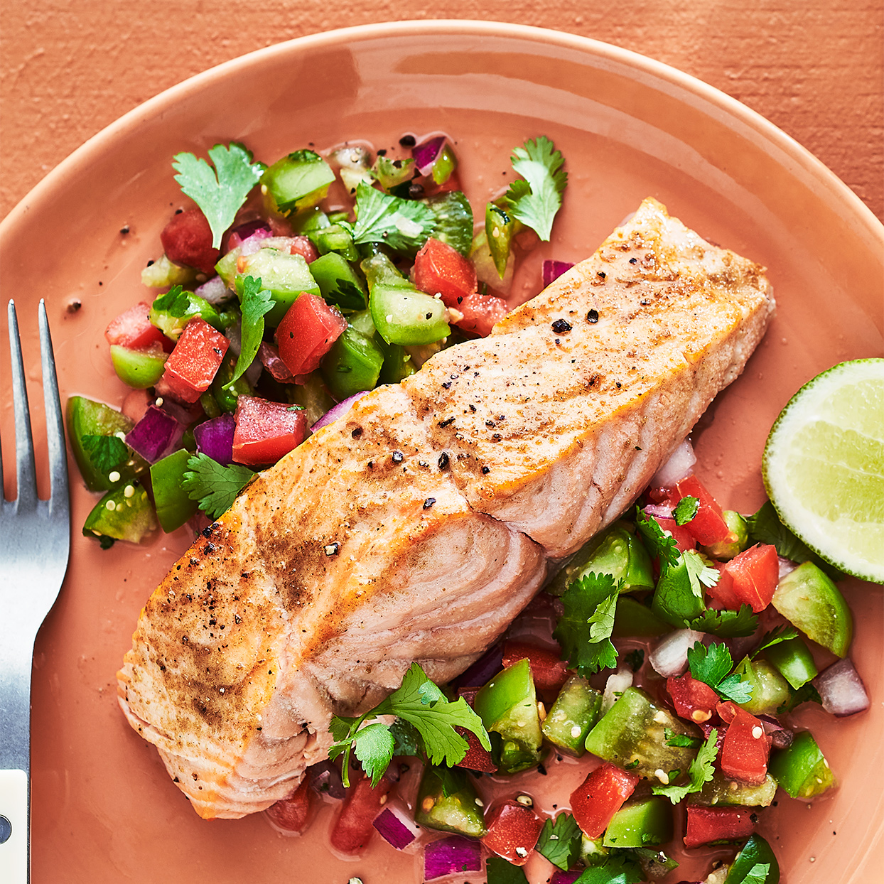 We made this chopped salad with pico de gallo in mind. Tangy tomatillos add fresh crunch to the classic mixture of tomatoes, cilantro and onion to brighten up this broiled salmon recipe. Source: EatingWell Magazine, July / August 2020