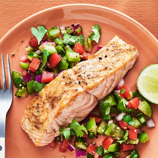 Salmon with Chopped Tomatillo Salad Devon O'Brien