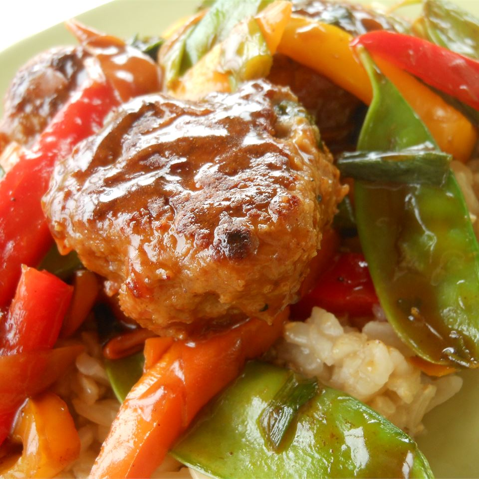 Basmati and Snow Pea Stir Fry with Teriyaki Chicken Meatballs SunnyDaysNora