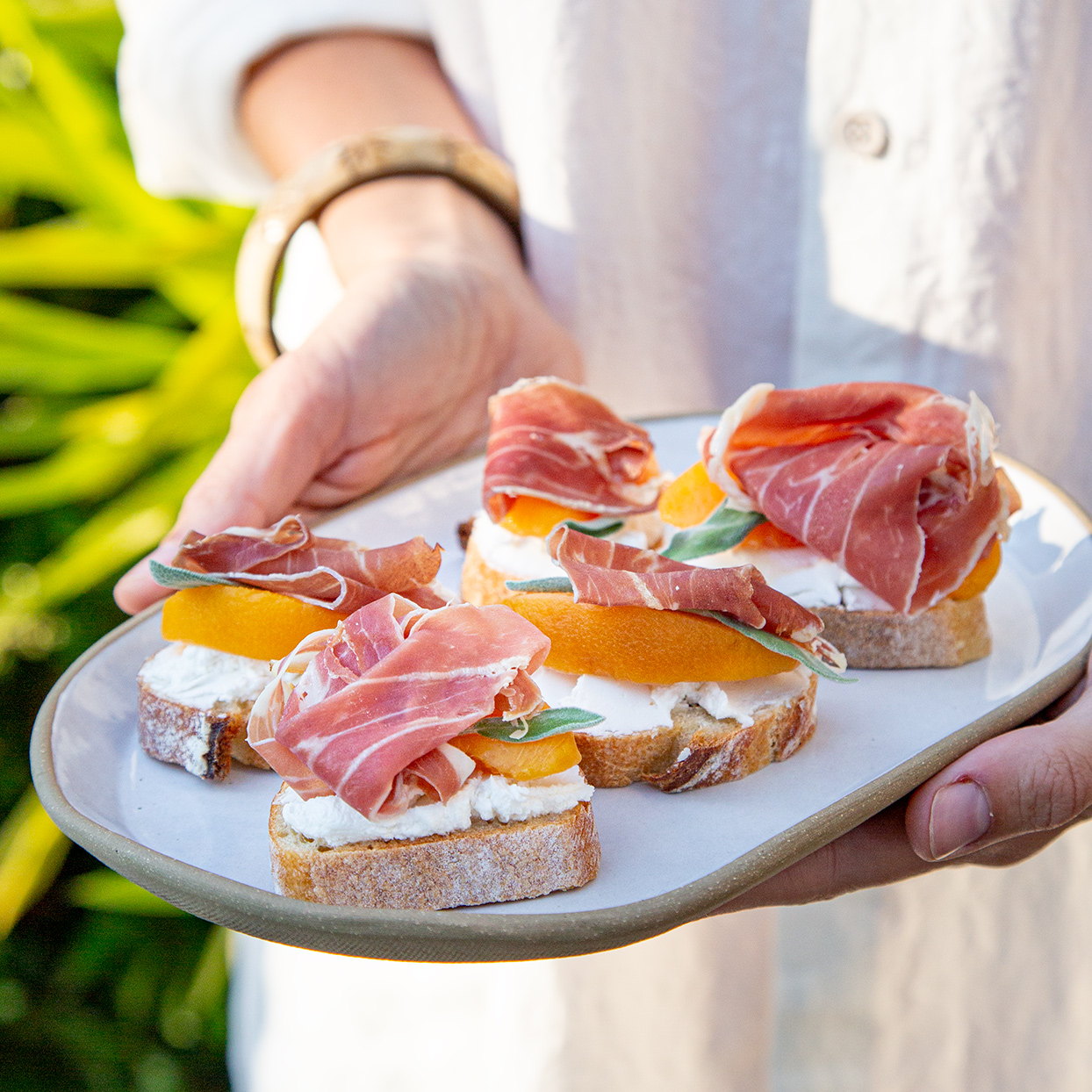Canapés with Peach, Sage & Prosciutto Trusted Brands