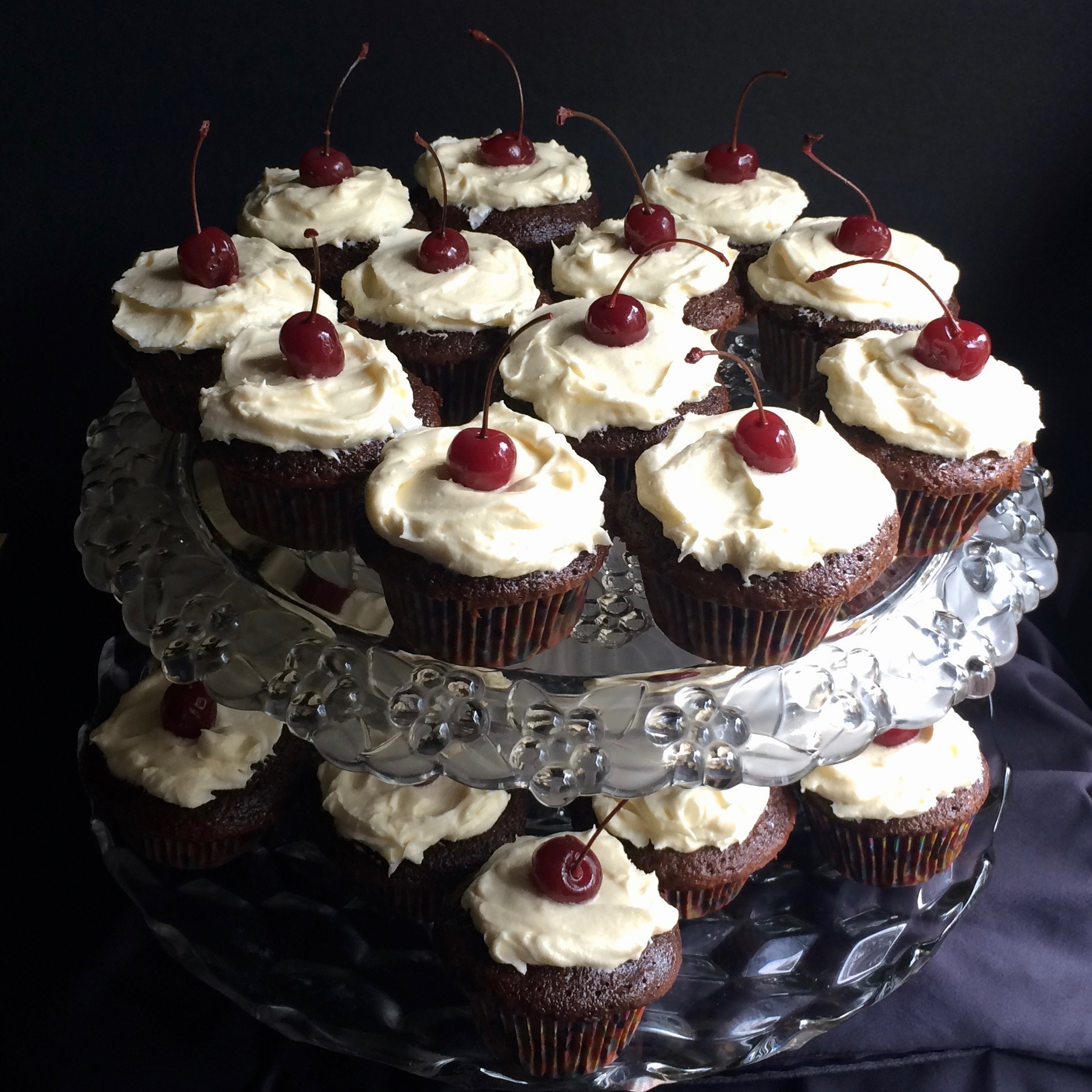 Chocolate-Cherry Cupcakes with Cream Cheese Buttercream Frosting