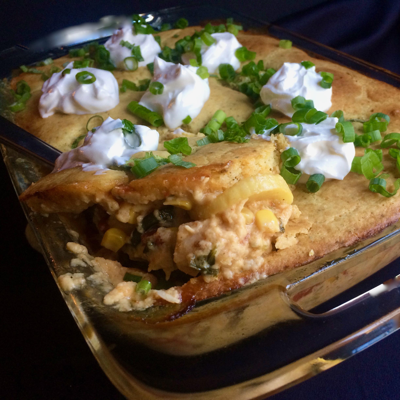 Southwestern Chicken, Squash, and Cornbread Casserole Bibi