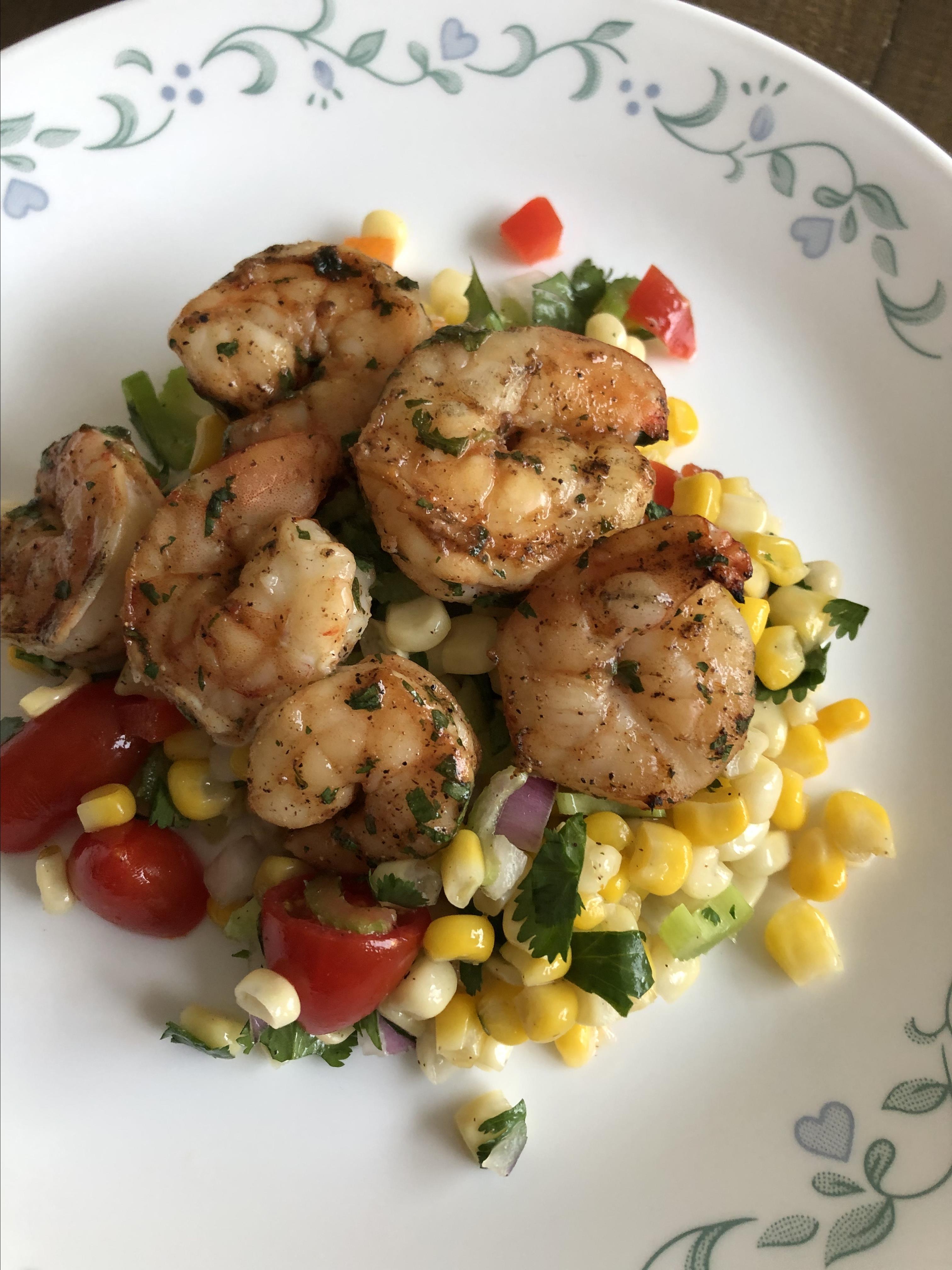 Grilled BBQ Shrimp with Citrus Corn Salad Diane Gaudette