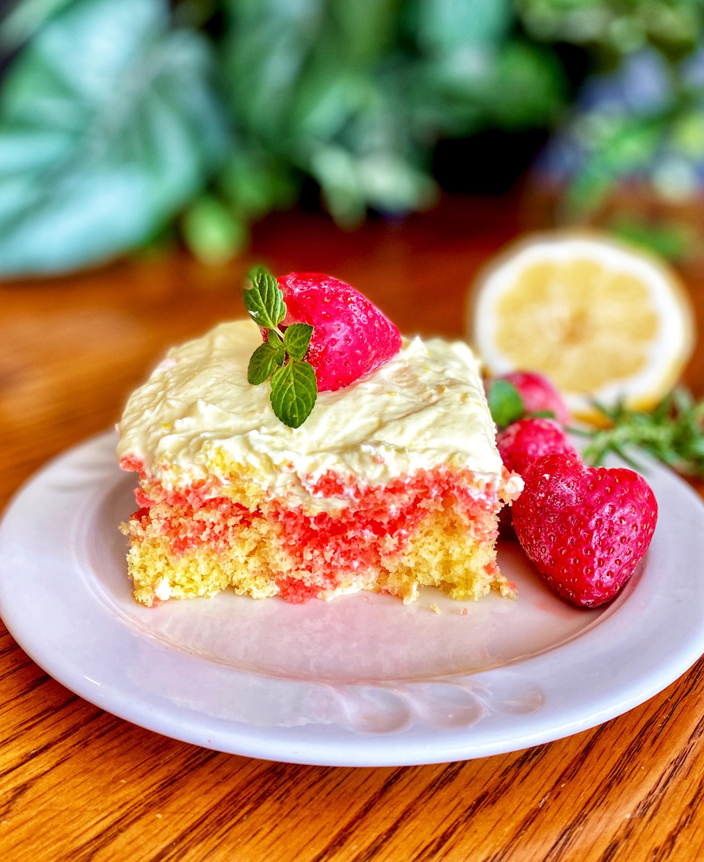 Strawberry Lemonade Poke Cake
