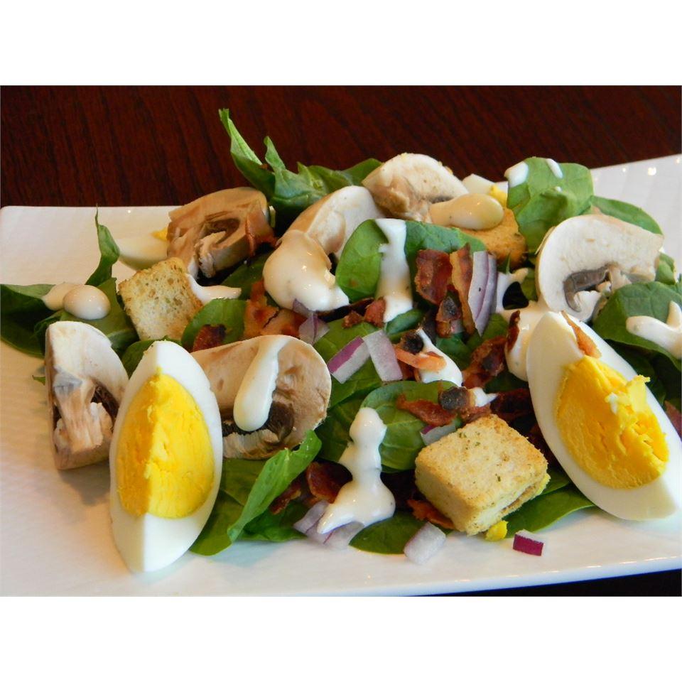 Spinach, Bacon, and Mushroom Salad Baking Nana