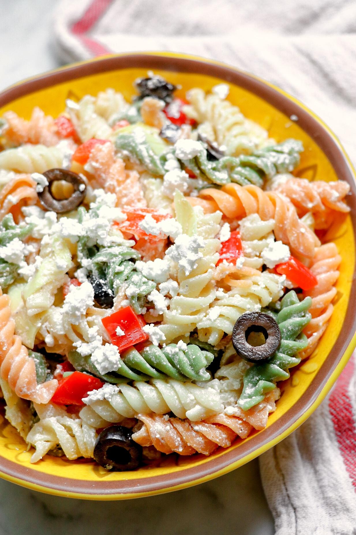 Tri-Colored Pasta with Feta Cheese