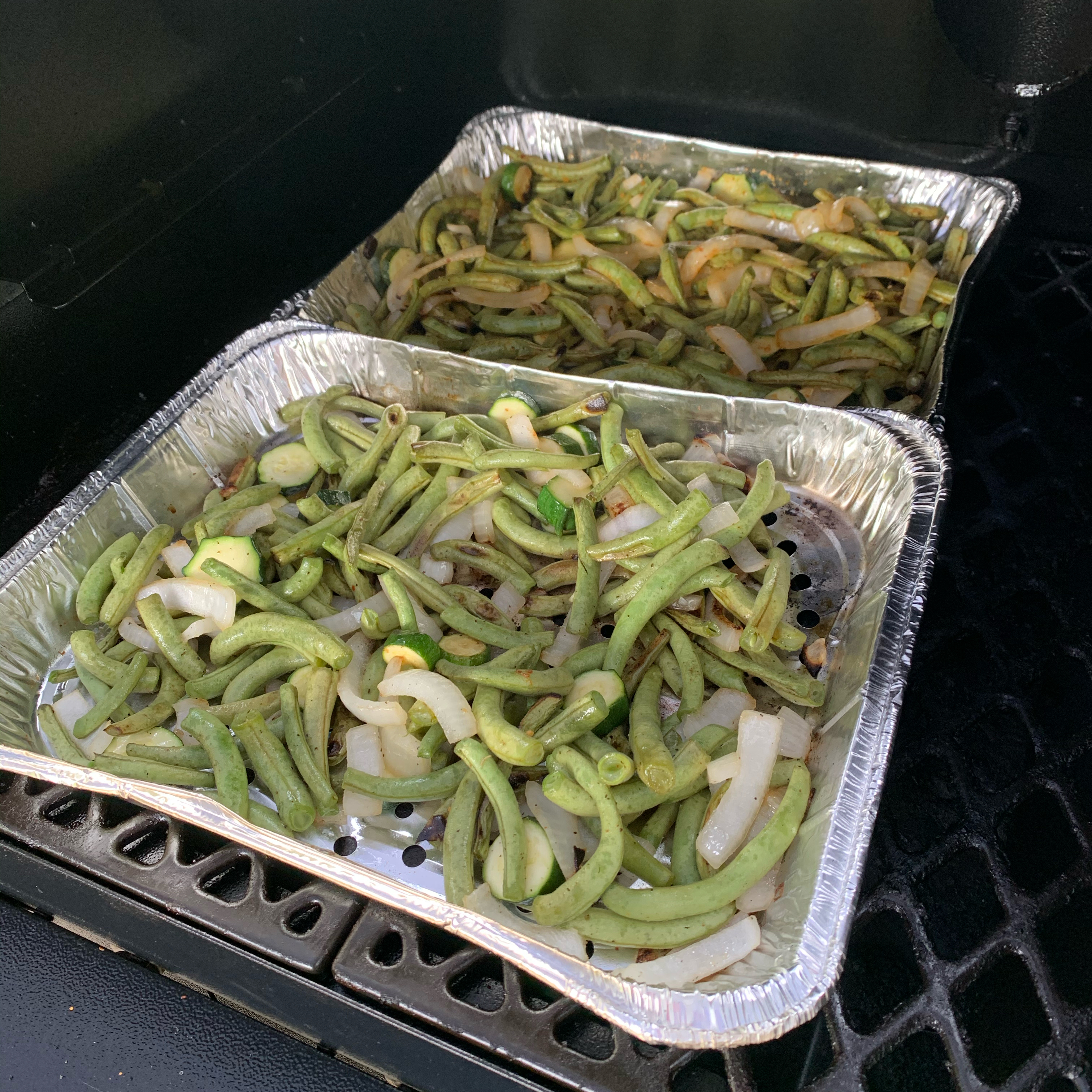 Grilled Green Beans and Onions