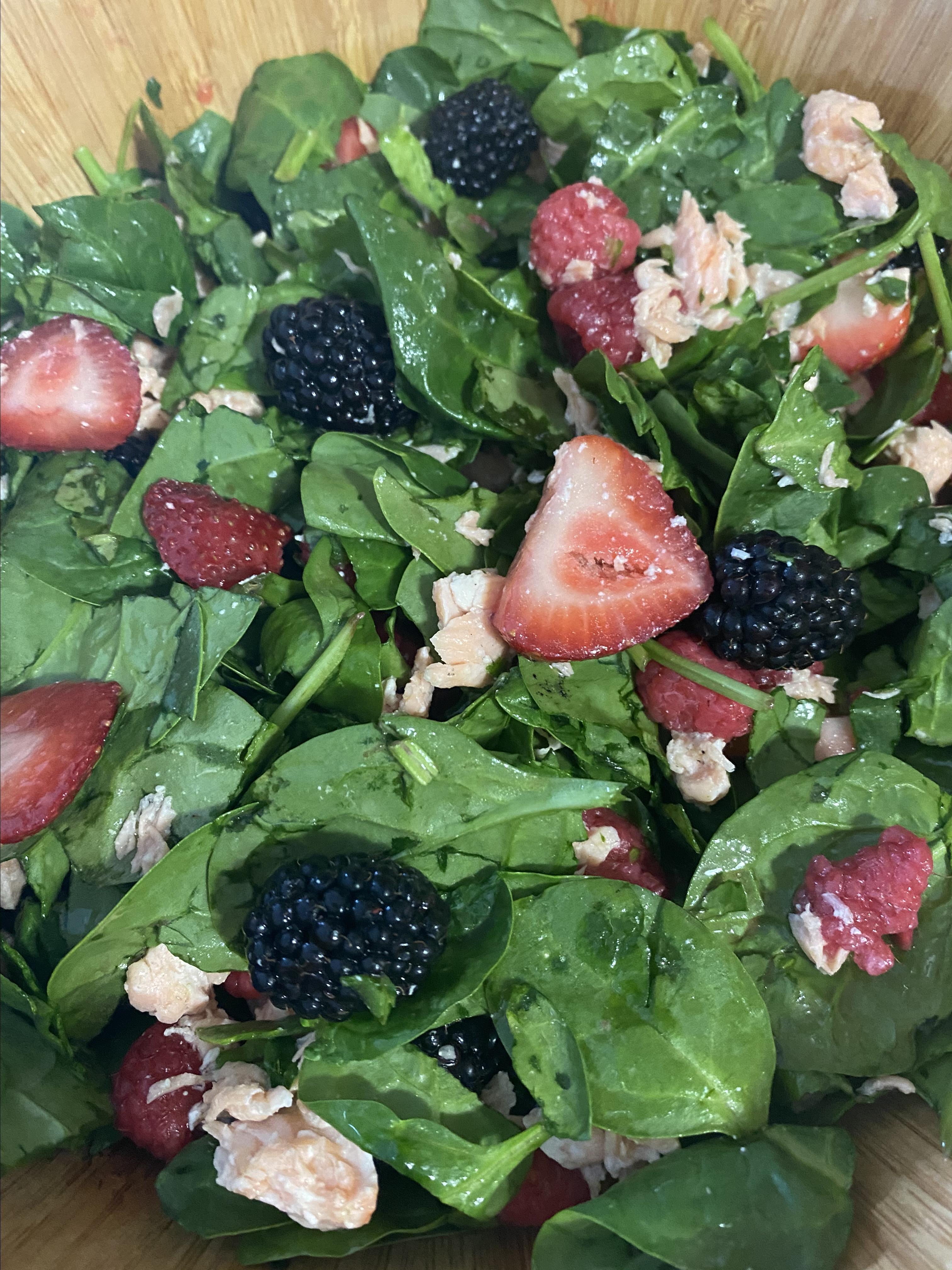 Summer Berry Salad with Salmon lindabythesea