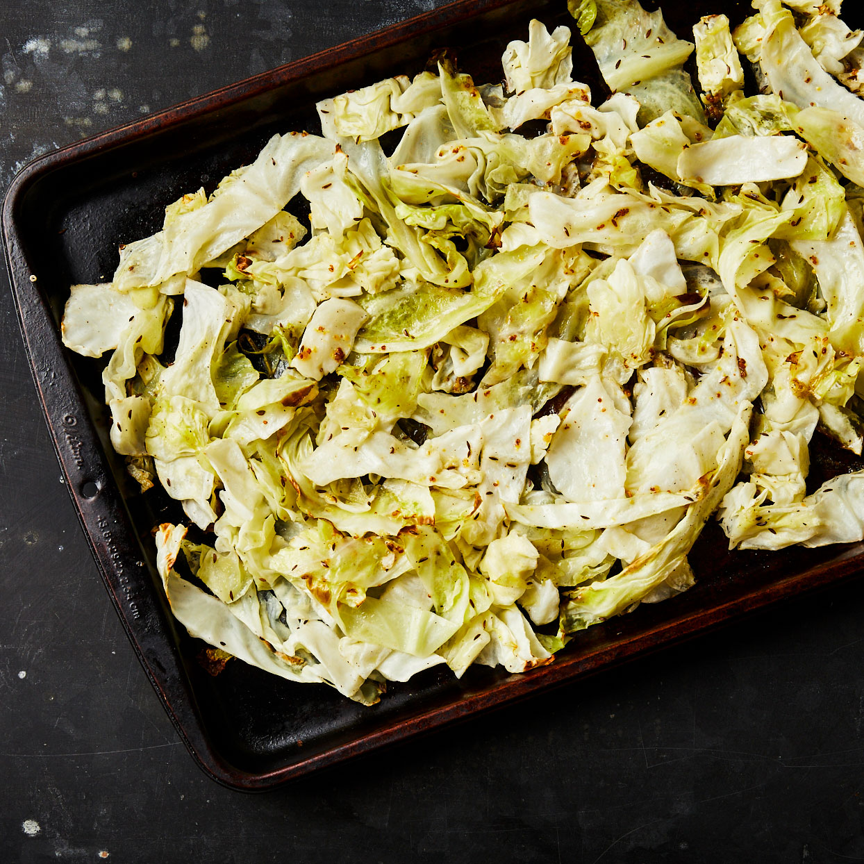 Roasting cabbage brings out its sweet and savory side. Caraway seed is a natural pairing with this cruciferous veggie, and a combination of honey and Dijon mustard deepens the flavor. Serve as a side to pork chops, burgers or roasted chicken. Source: EatingWell.com, July 2020