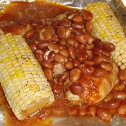 Foiled BBQ Chicken with Corn on the Cob and Pinto Beans Paula