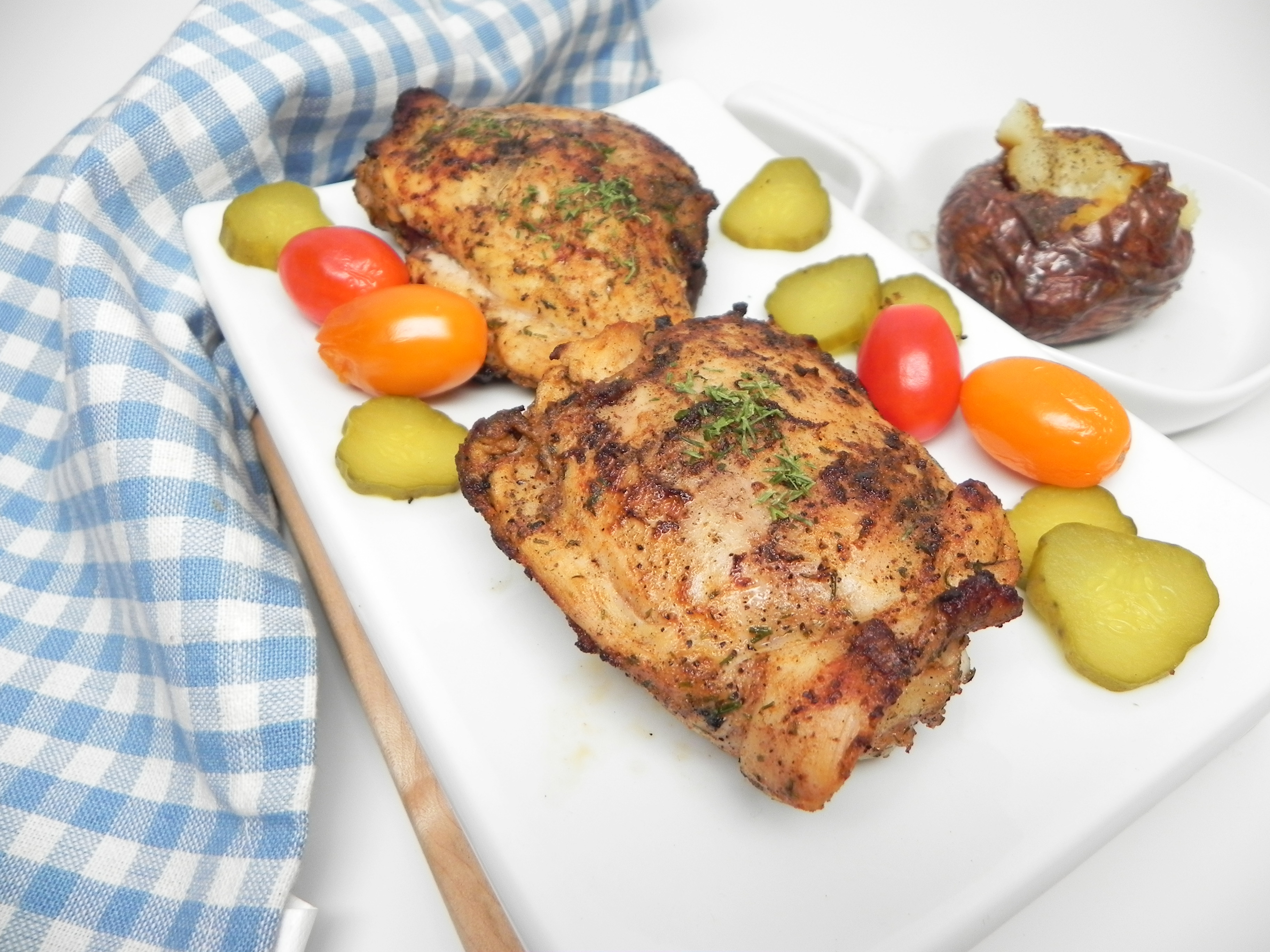 Grilled Dill Pickle Chicken Thighs