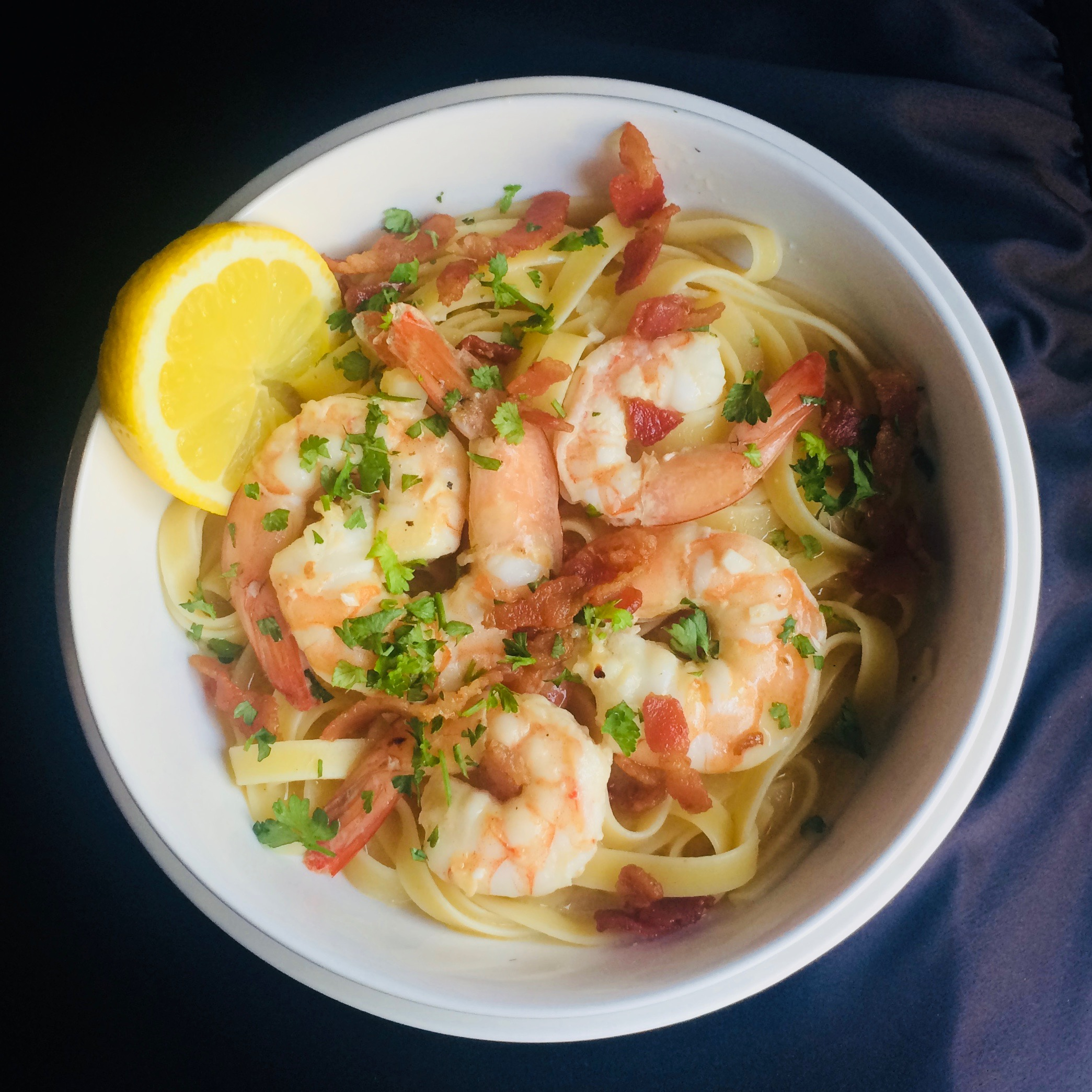Bacon Shrimp Scampi Bibi