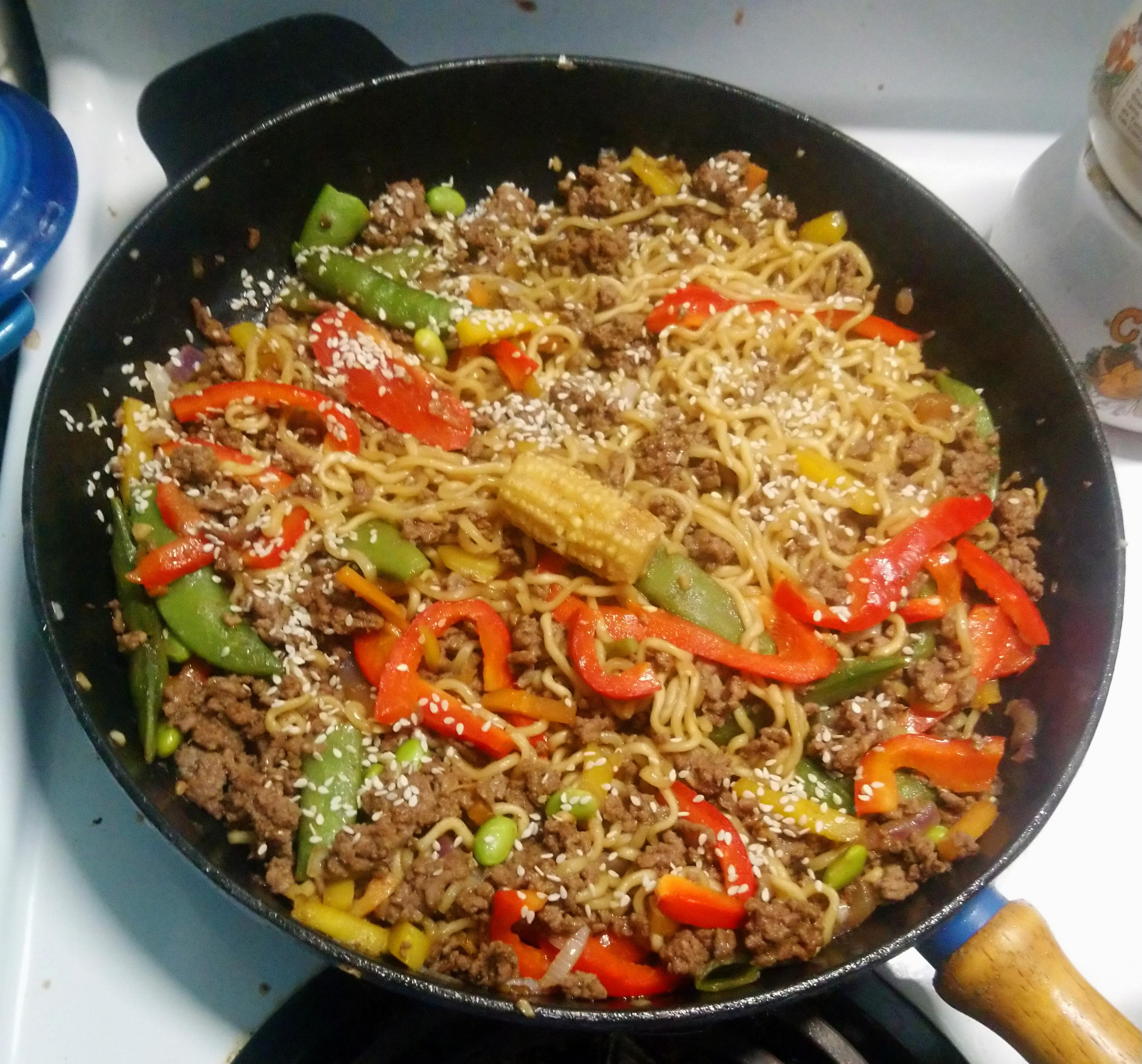 Asian Ground Beef Noodle Bowls CHarring