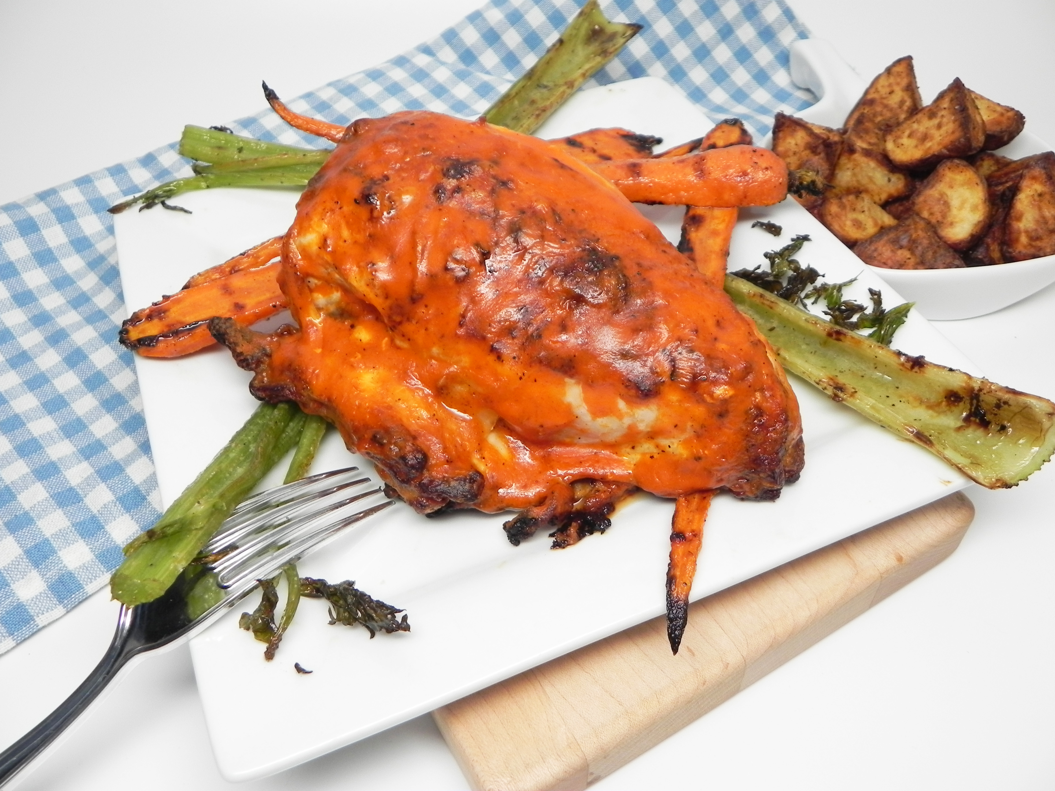 Grilled Buffalo Chicken Breast with Ranch Carrots and Celery