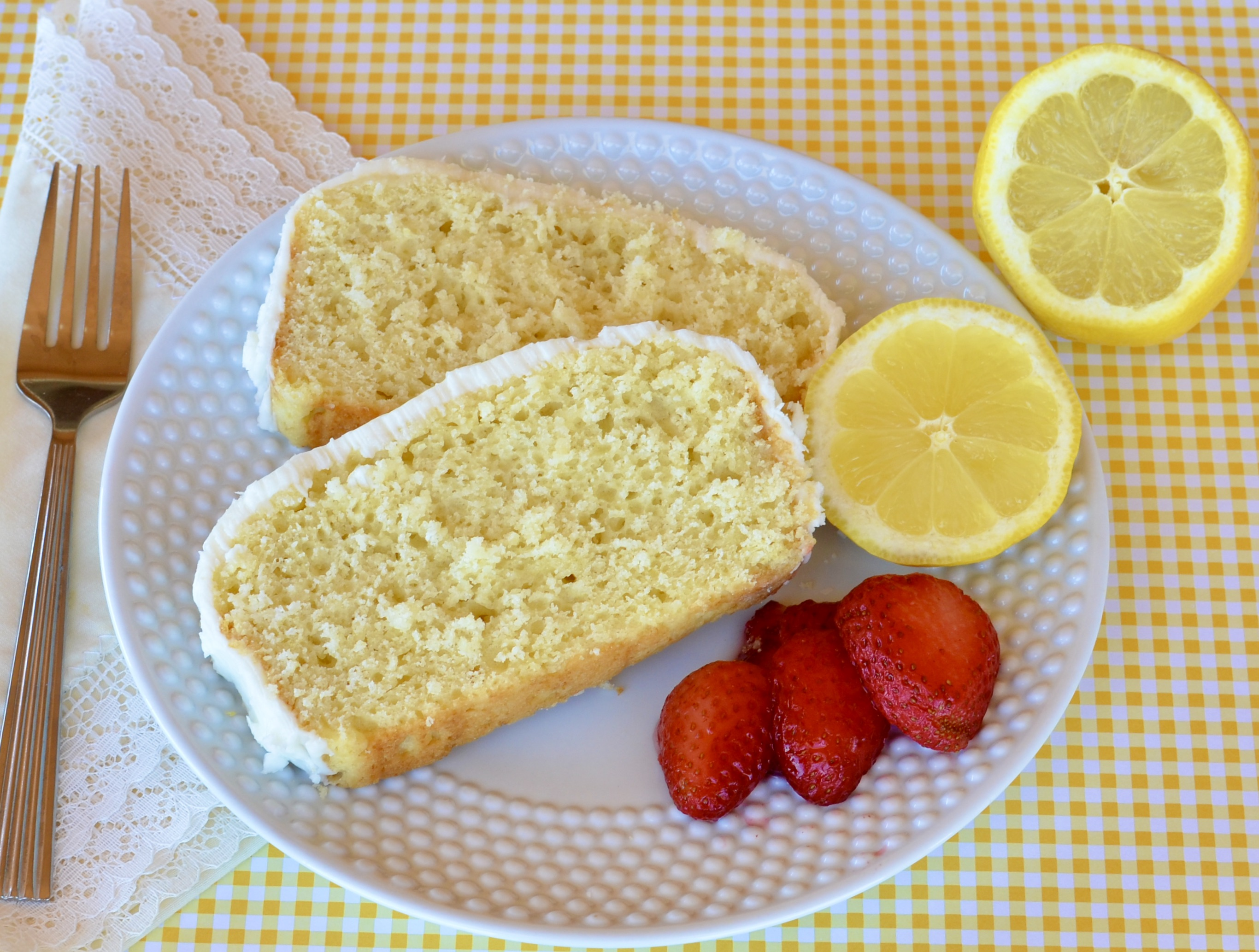 "Recipe creator seth martin made this lemon cake on a whim but was delighted with the results: ""It's sweet, yet retains that delicious tart lemon zing and flavor."" Drizzle the loaf cake with a tart citrus icing while it is still warm; allow cake to cool while the glaze soaks in."