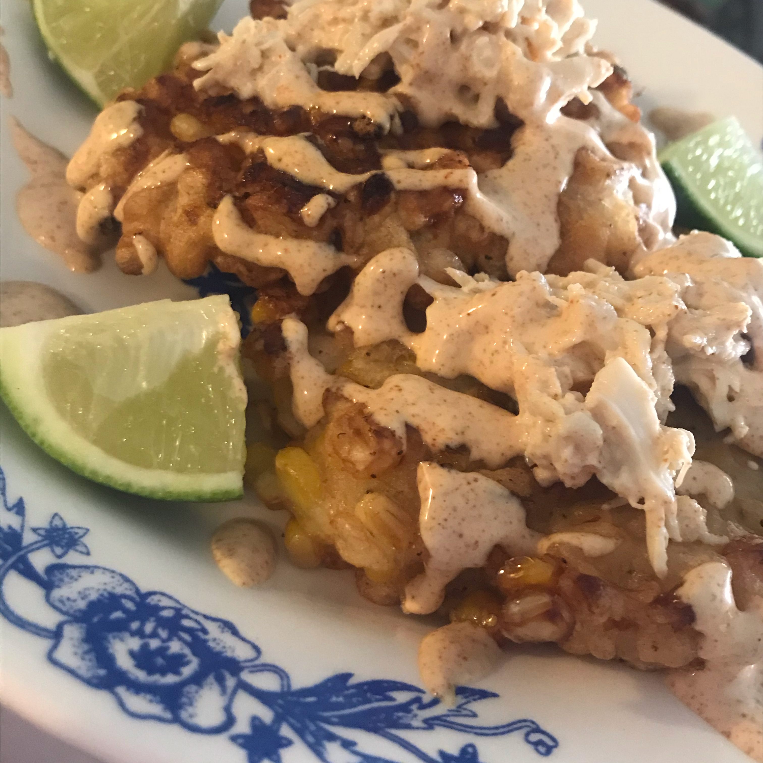 Crispy Fresh Corn Fritters with Crab and Chipotle Lime Dressing Michelle Carrillo
