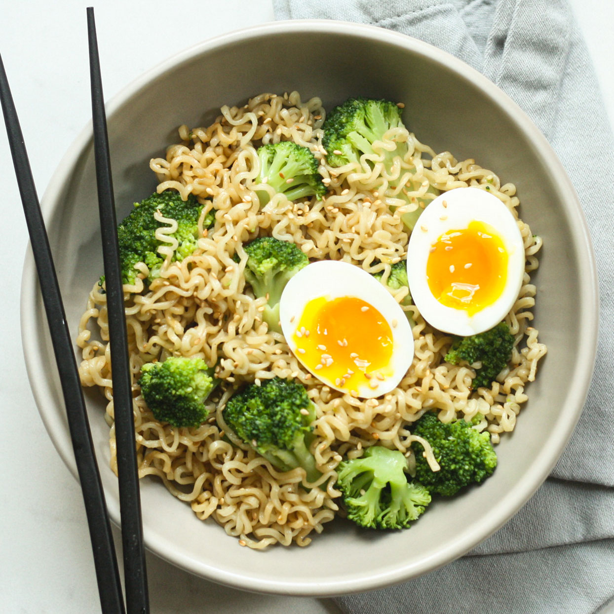 Jazz up basic ramen noodles with toasted sesame oil, quick-cooked broccoli and a jammy soft-boiled egg. To cut back on sodium, look for ramen varieties with less than 600 mg sodium per serving or use less of the seasoning packet. Source: EatingWell.com, July 2020