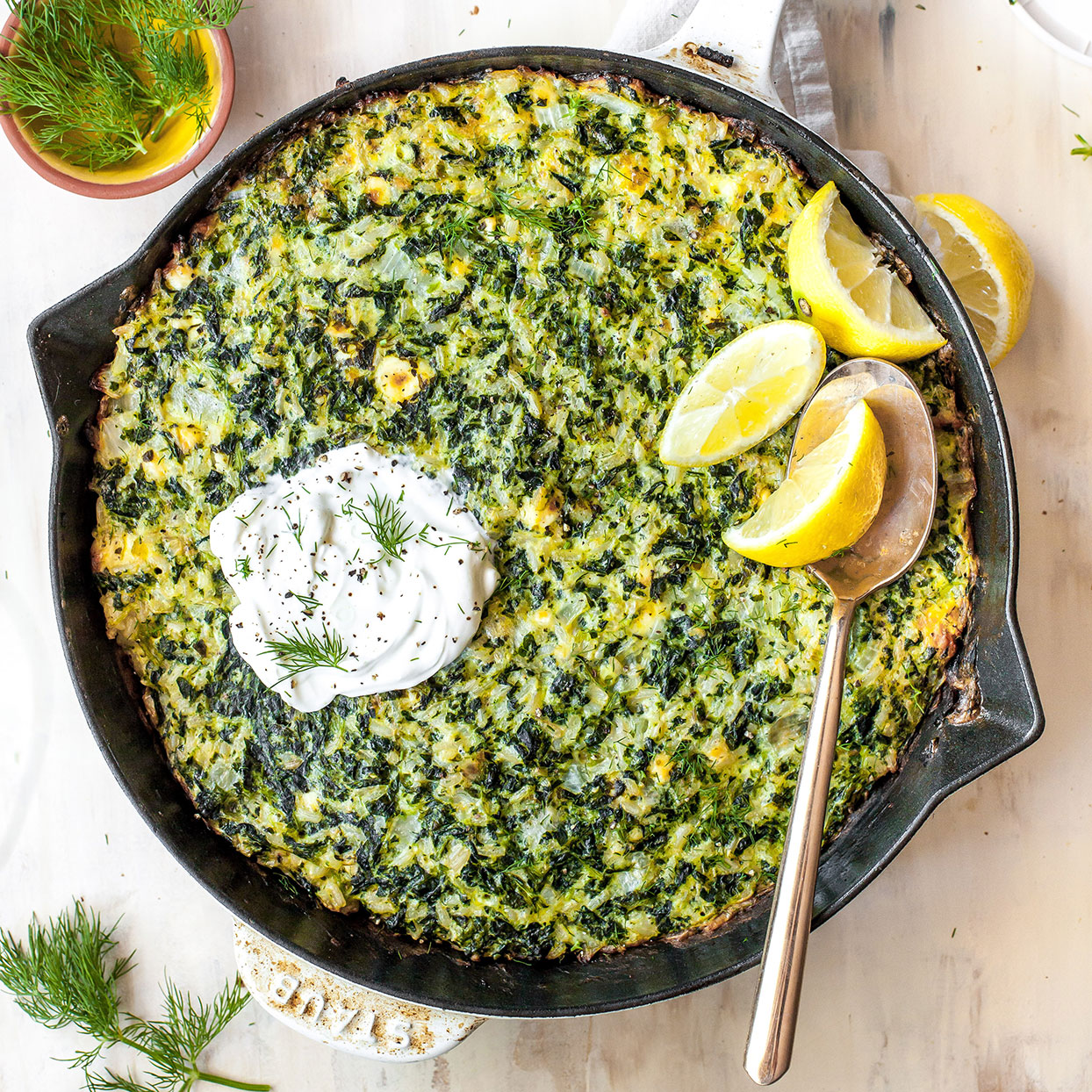 This one-pan recipe is the casserole version of spanakopita! It's hearty enough to enjoy as a vegetarian lunch or dinner, yet versatile enough to serve alongside just about any protein. To make it extra creamy, top each serving with a dollop of sour cream.Source: EatingWell.com, July 2020