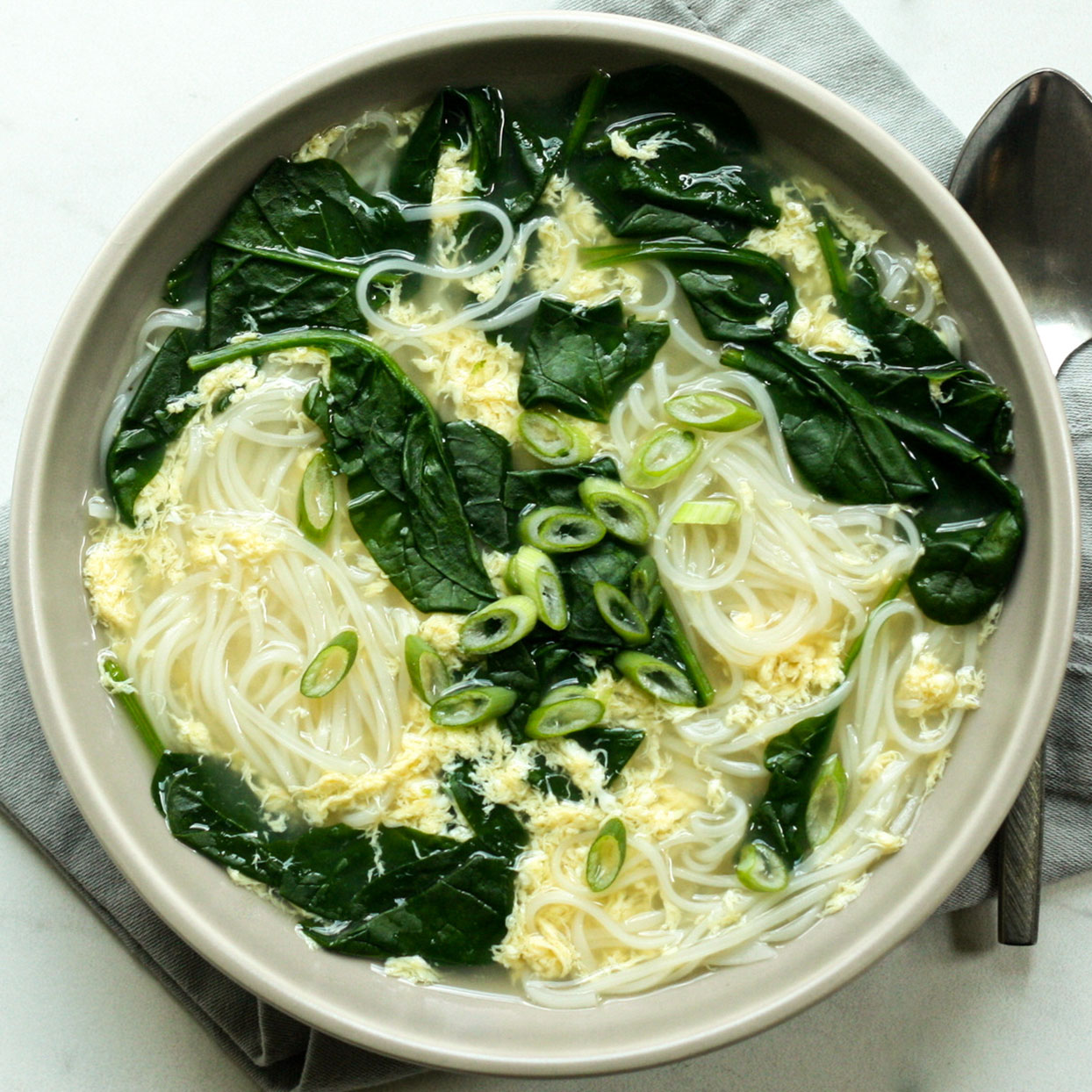 Egg Drop Soup with Instant Noodles, Spinach & Scallions Carolyn A. Hodges, R.D.