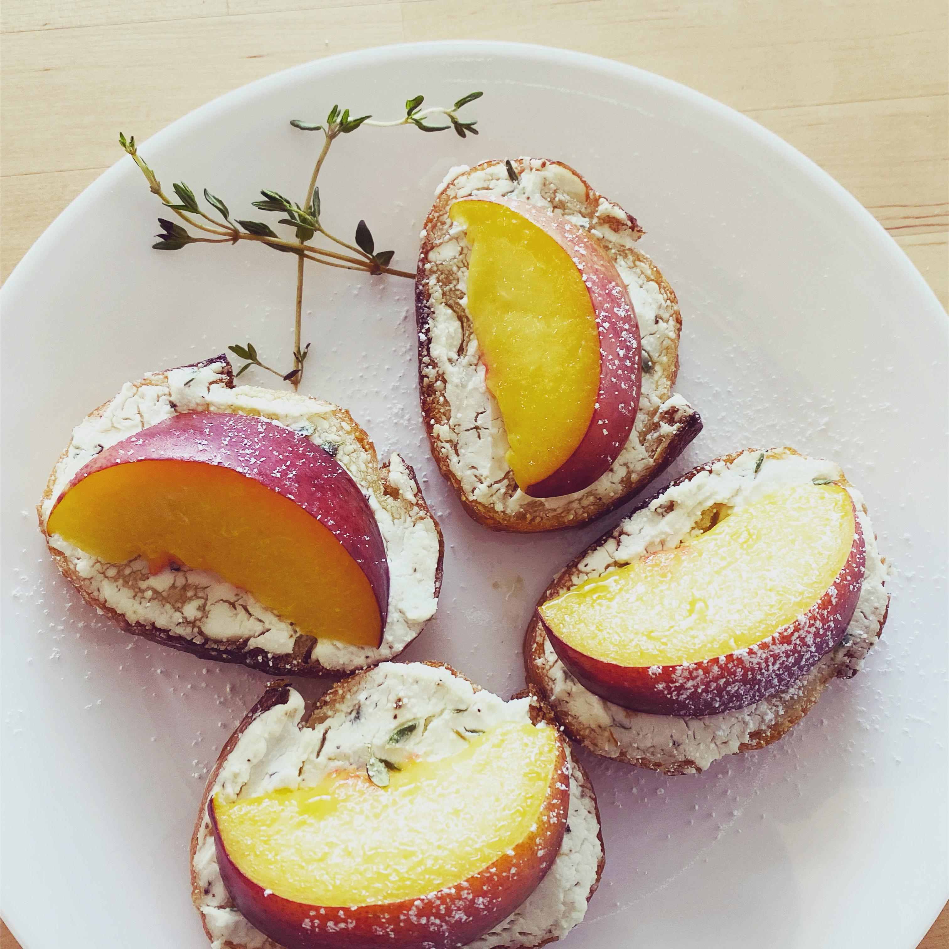 Peach and Goat Cheese Tartine Emily Yan