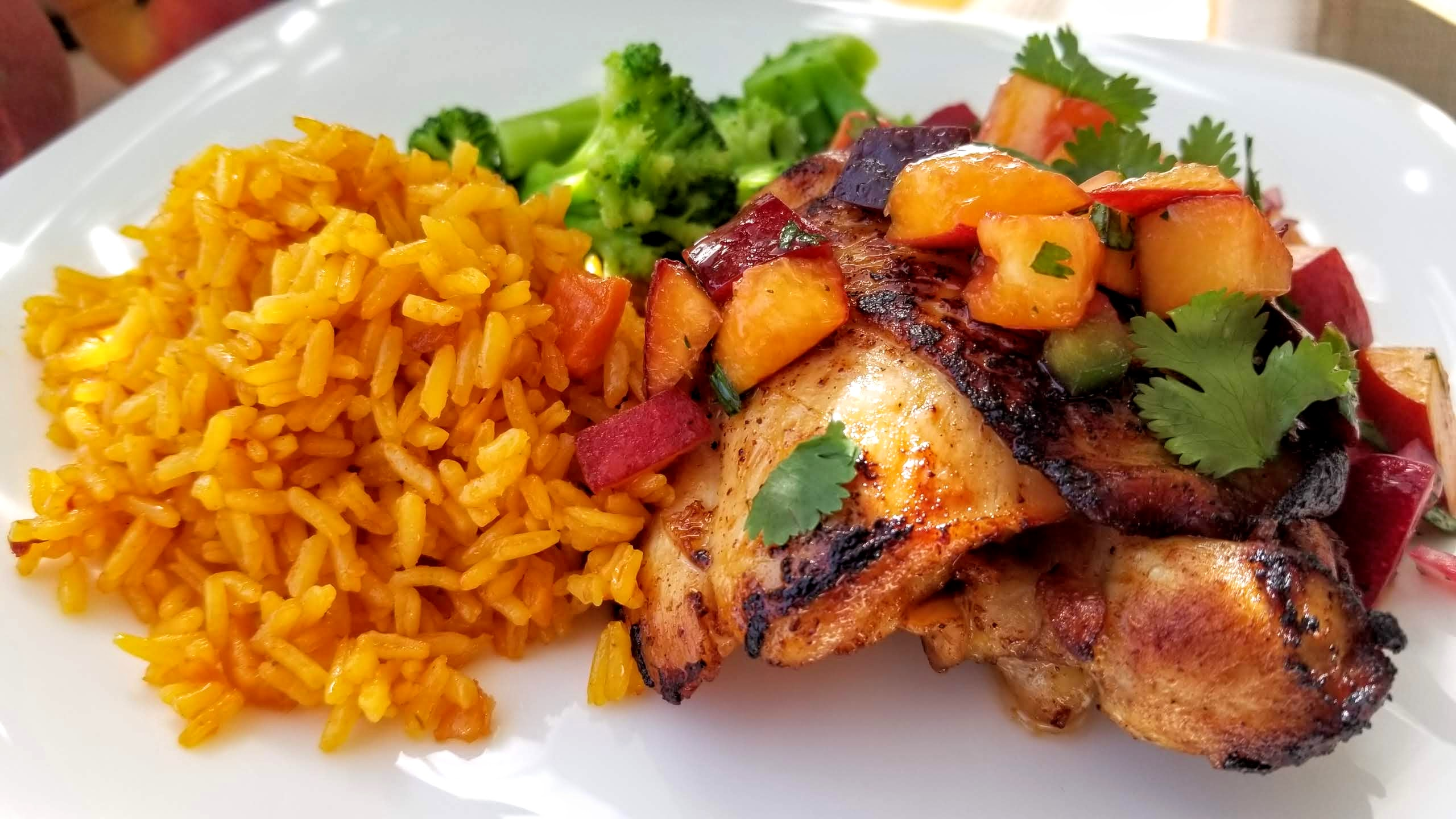 Grilled Chicken Thighs with Peach and Cherry Salsa Tony Rosa