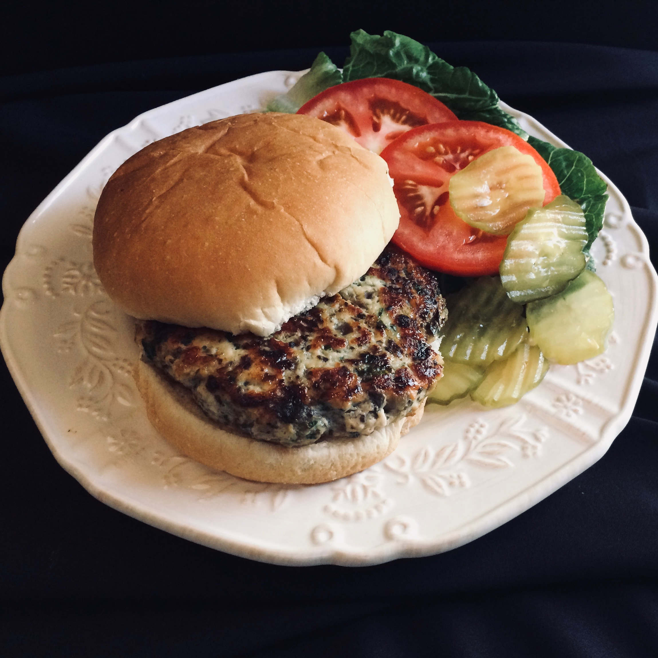 Baked Chicken Burgers with Mushrooms and Spinach