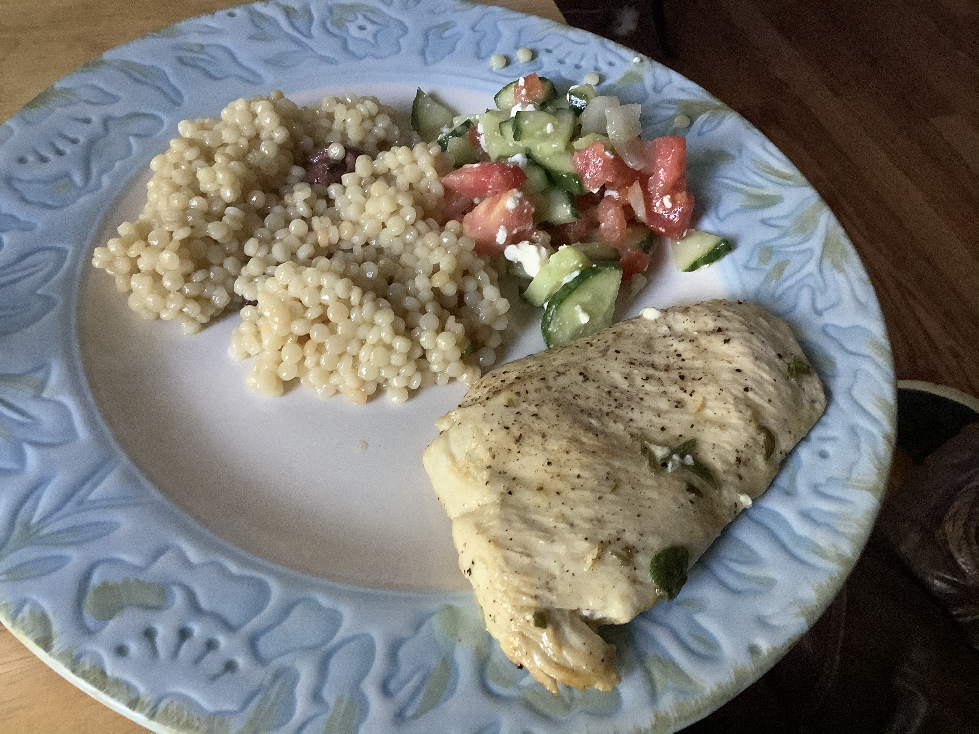 Lemon Herb Chicken with Couscous and Cucumber Salad To A Tea