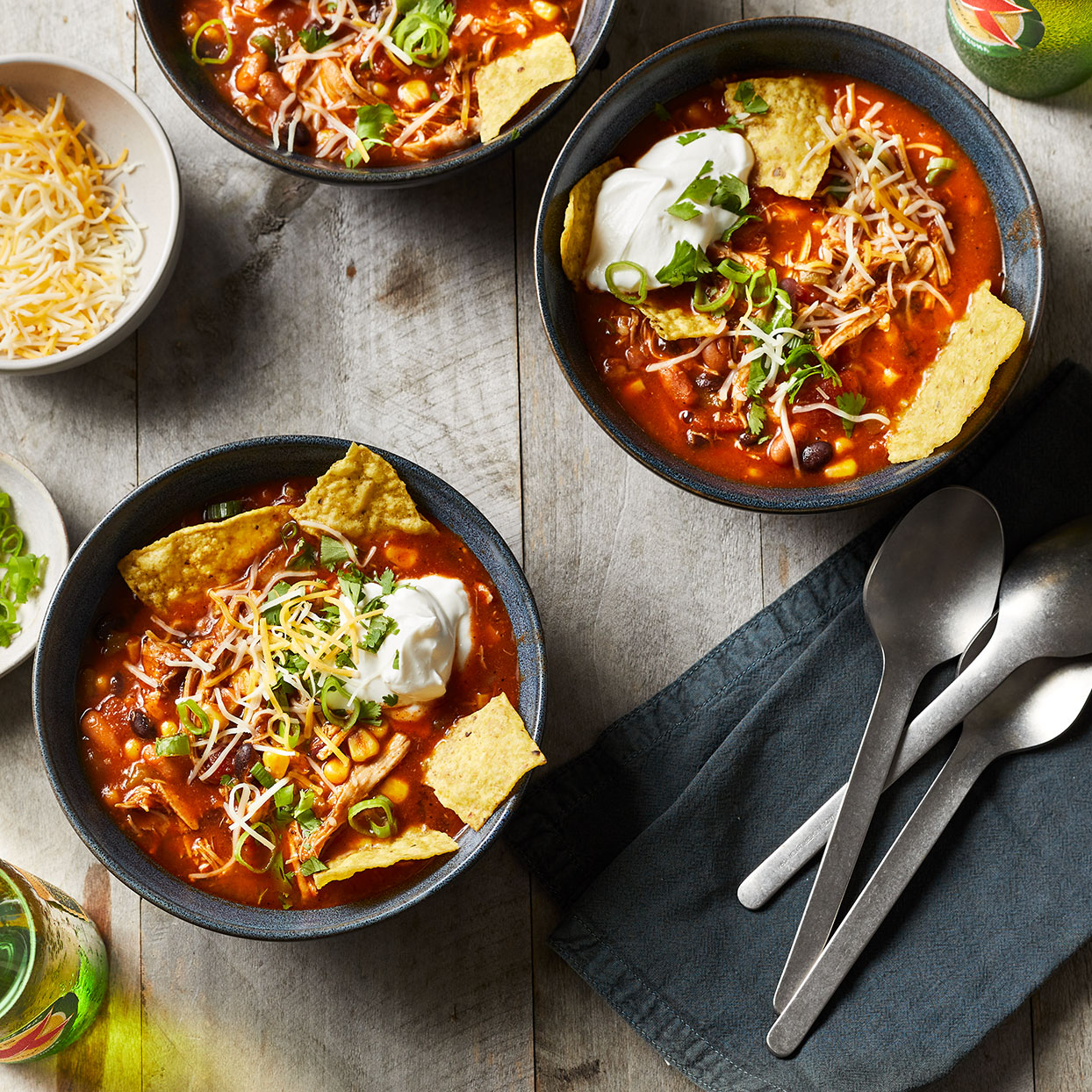 If you love tacos, this Instant Pot chicken taco soup won't disappoint. Silky strained tomatoes add body, while shredded chicken, beans and spices add those rich and spicy familiar flavors. And don't forget the toppings! Melted cheese, creamy sour cream and crushed tortilla chips round out this new family favorite. Source: EatingWell.com, July 2020