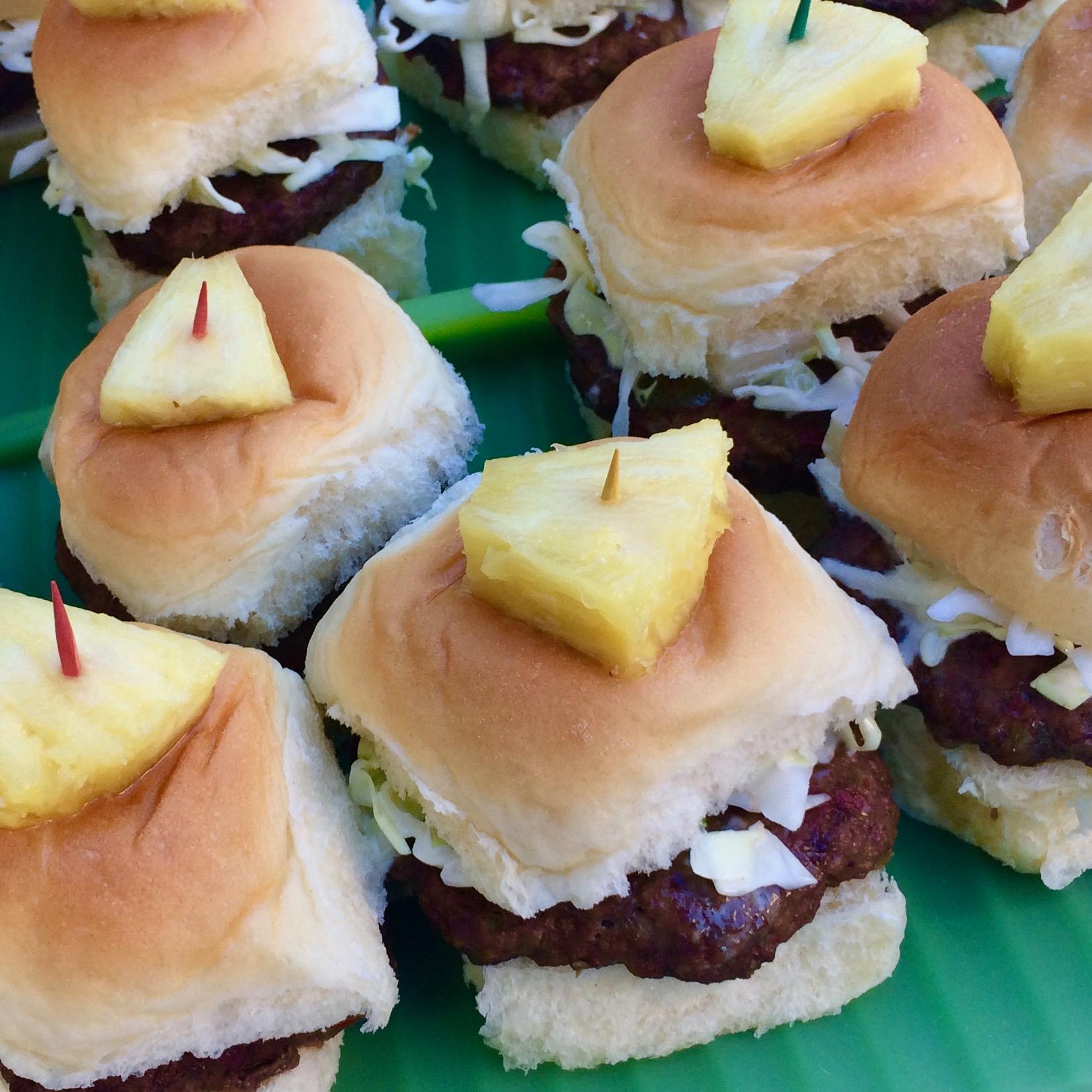 Hawaiian Beef Sliders with Pineapple Slaw