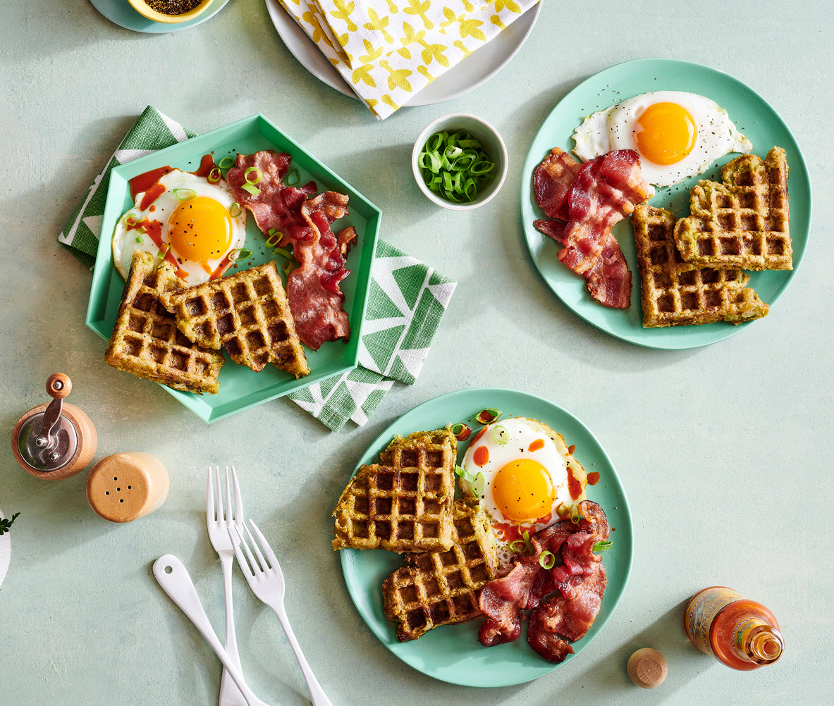 Broccoli & Cheese Veggie Tots Waffles with Bacon and Eggs