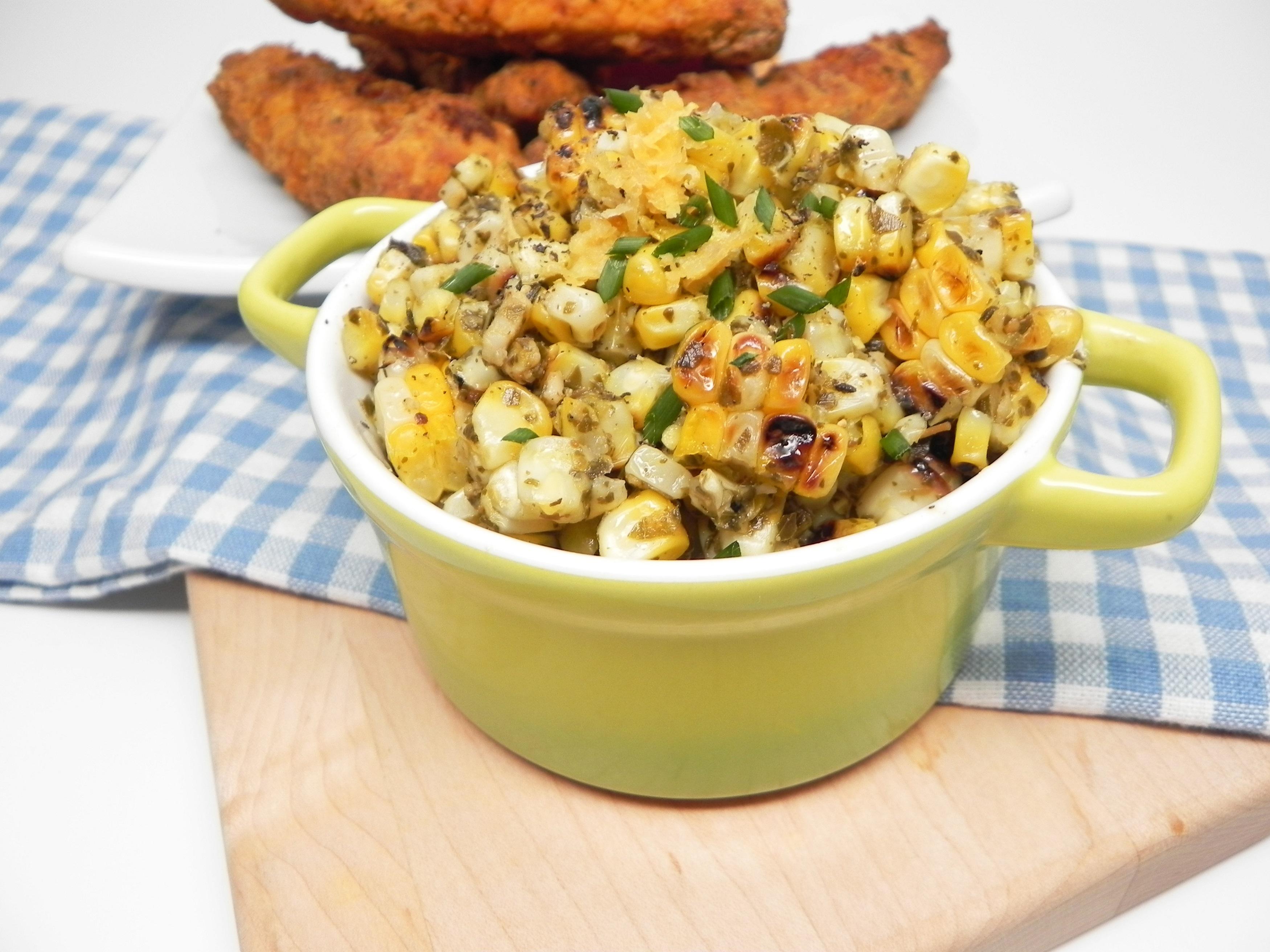 Grilled Corn Basil Pesto Salad